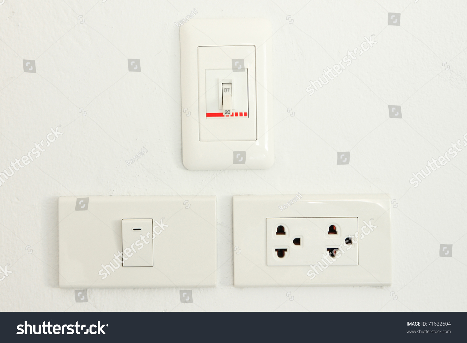 Three Type Switch On White Wall Stock Photo 71622604 - Shutterstock