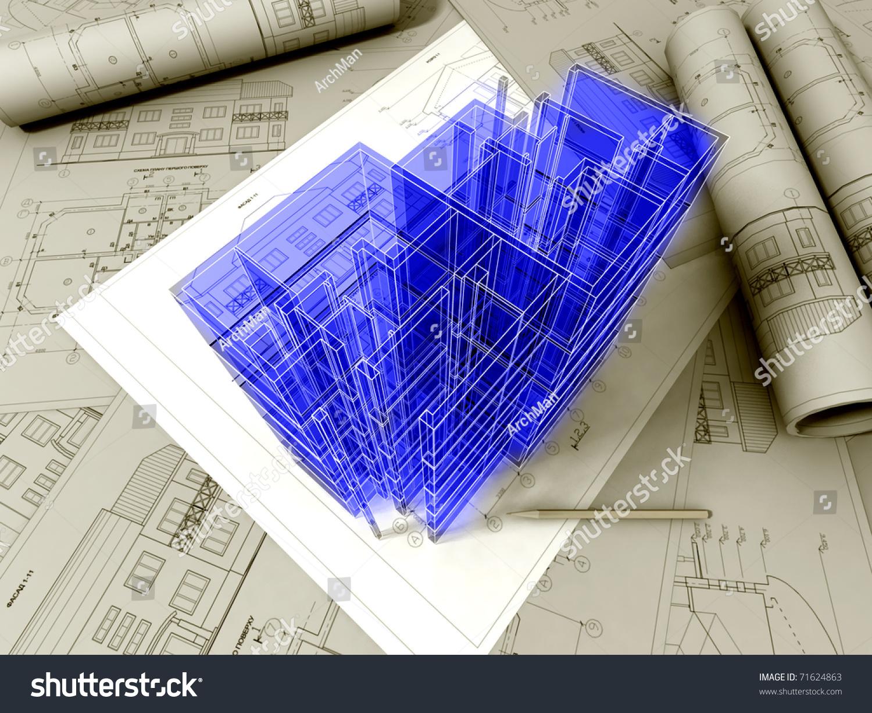 3d Plan Drawing Stock Photo 71624863 Shutterstock