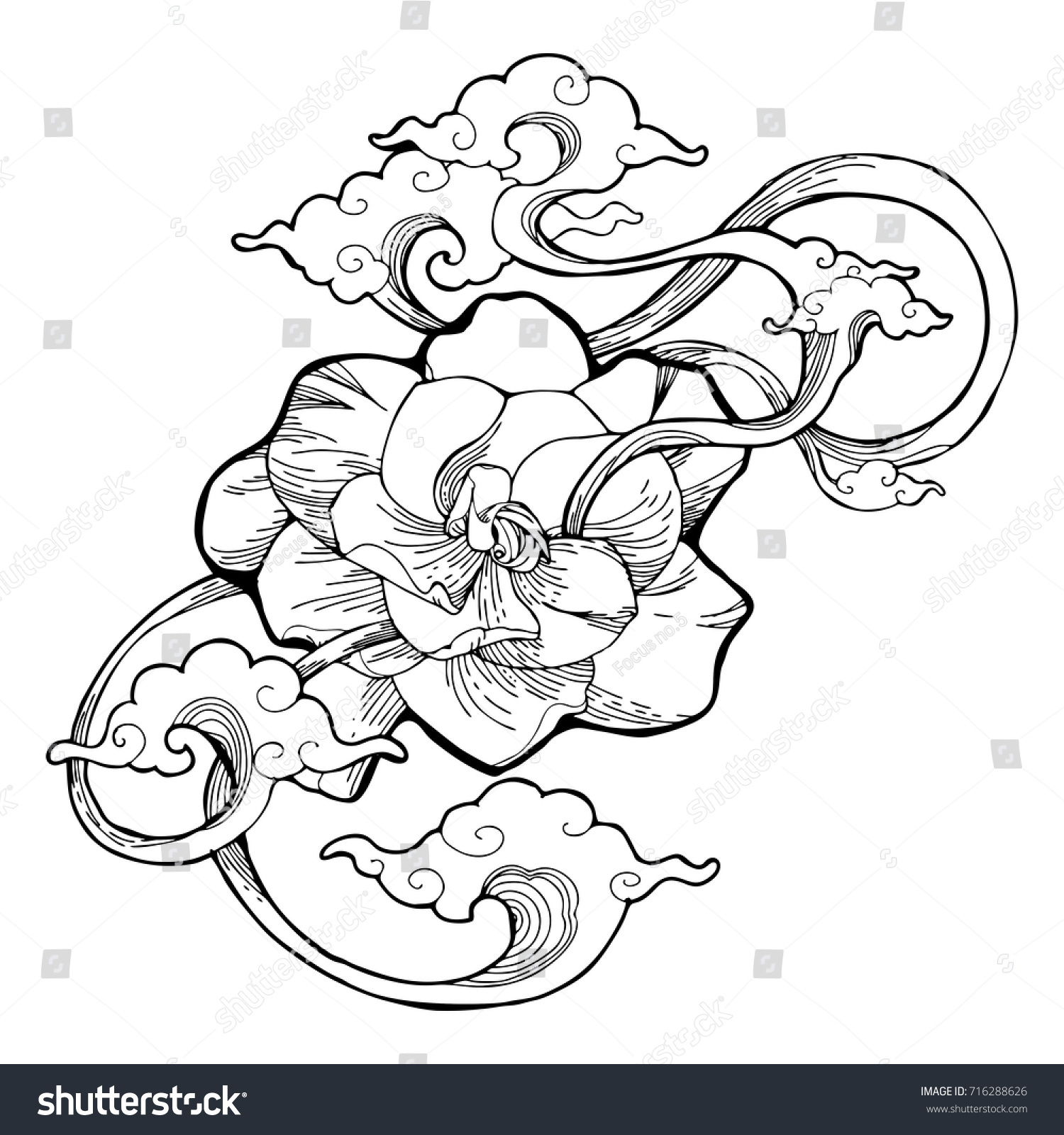 Cape Jasmine Gardenia Jasmine Aroma Cloud Stock Vector Royalty Free