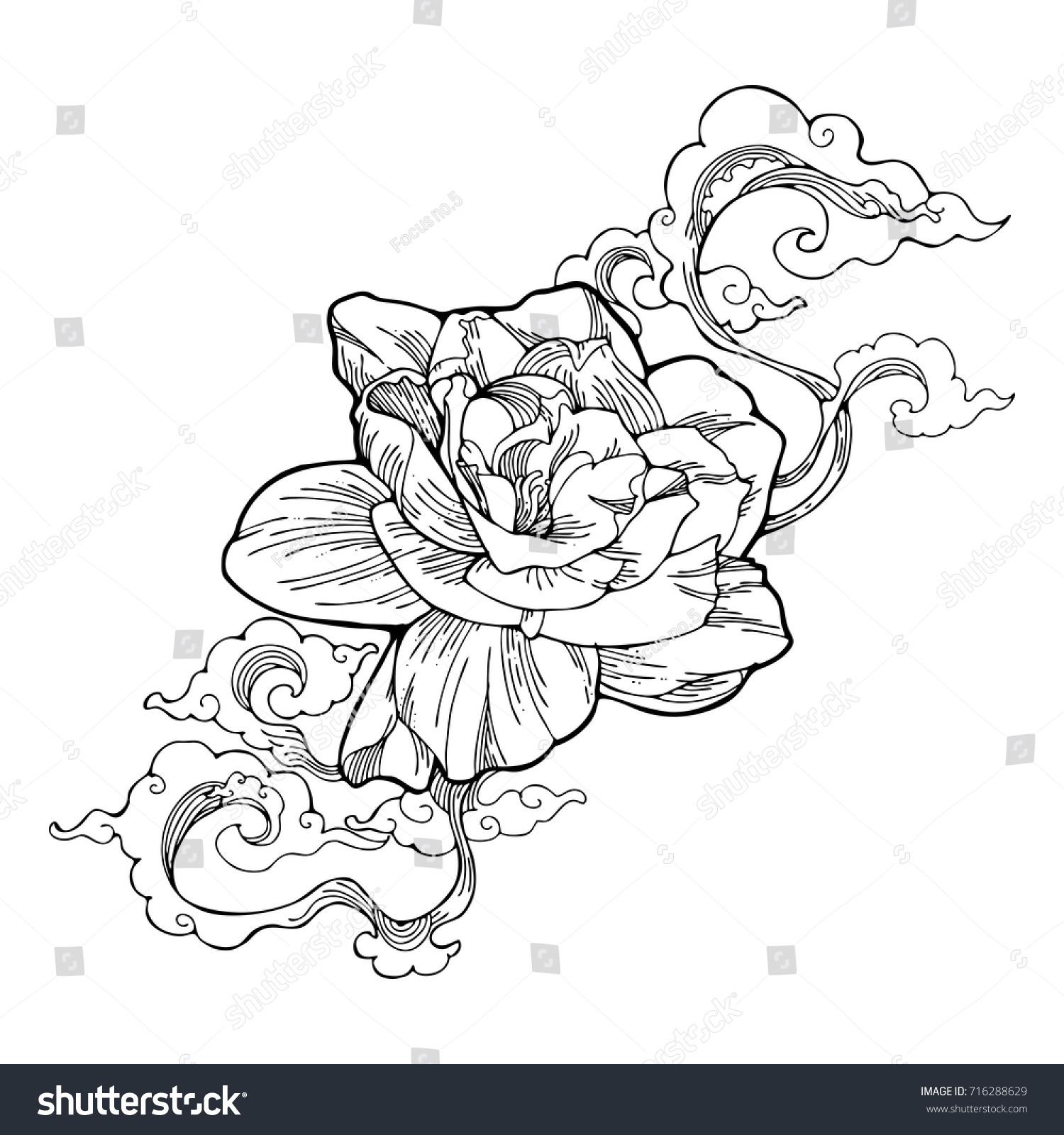 Cape jasmine gardenia jasmine aroma cloud stock vector 2018 cape jasmine gardenia jasmine and aroma cloud design by ink drawing tattoo vector with white izmirmasajfo Images