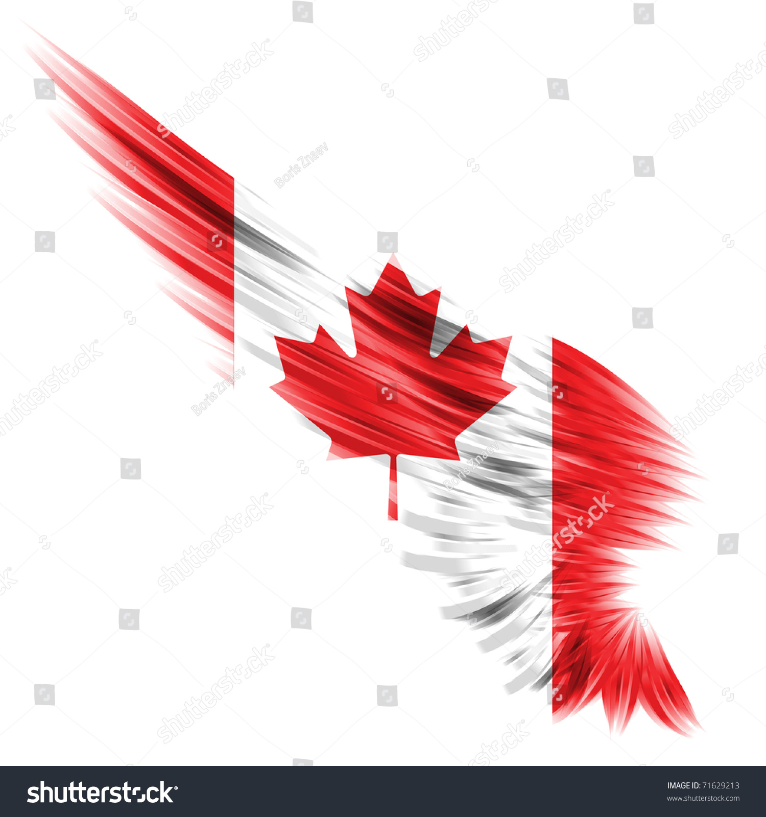 Abstract Wing Canada Flag On White Stock Illustration