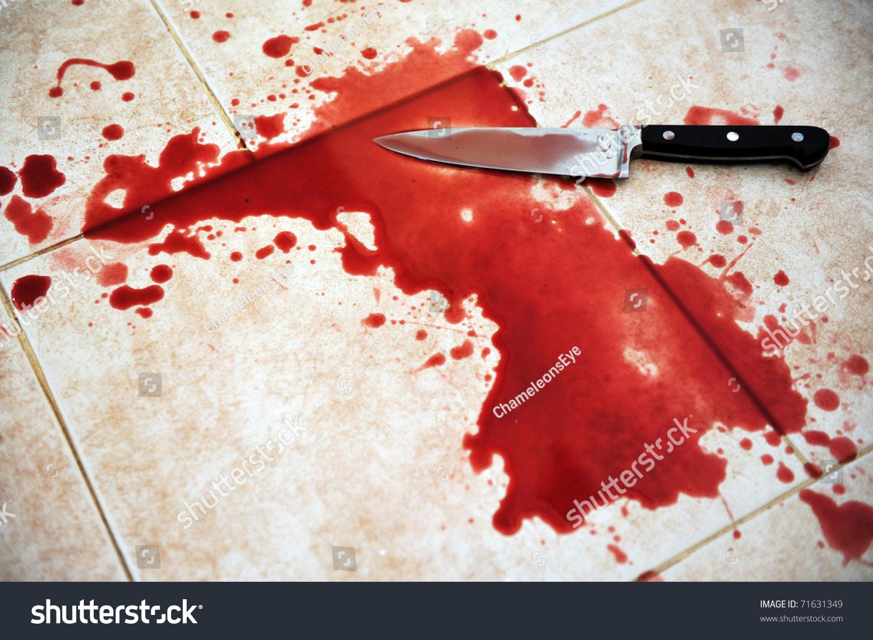Conceptual Image Sharp Knife Blood On Stock Photo 71631349