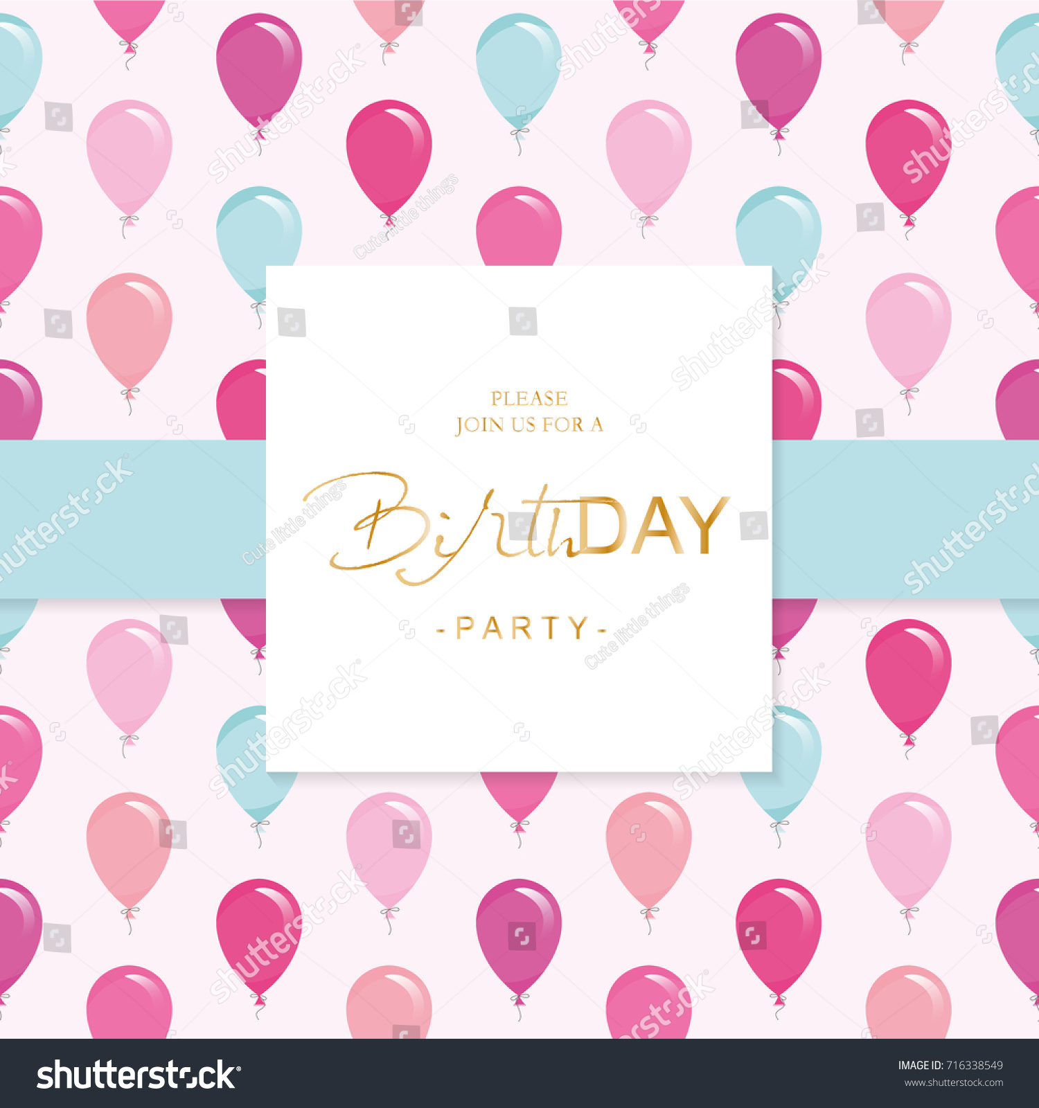 Birthday party invitation card template included stock vector birthday party invitation card template included seamless pattern with glossy pink and blue balloons stopboris Image collections