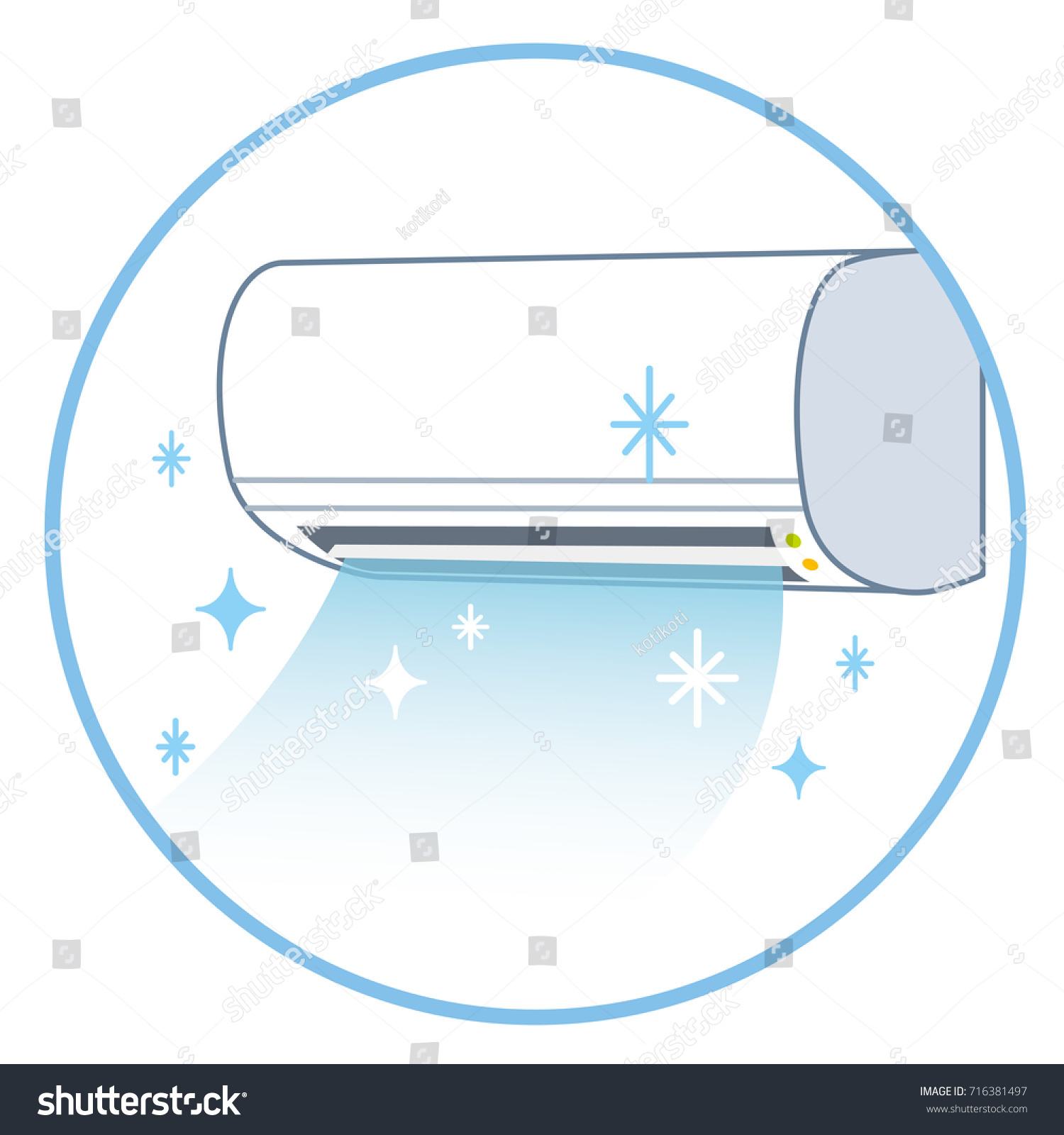 Clean Air Conditioner Blue Color Circle Stock Illustration 716381497 ...