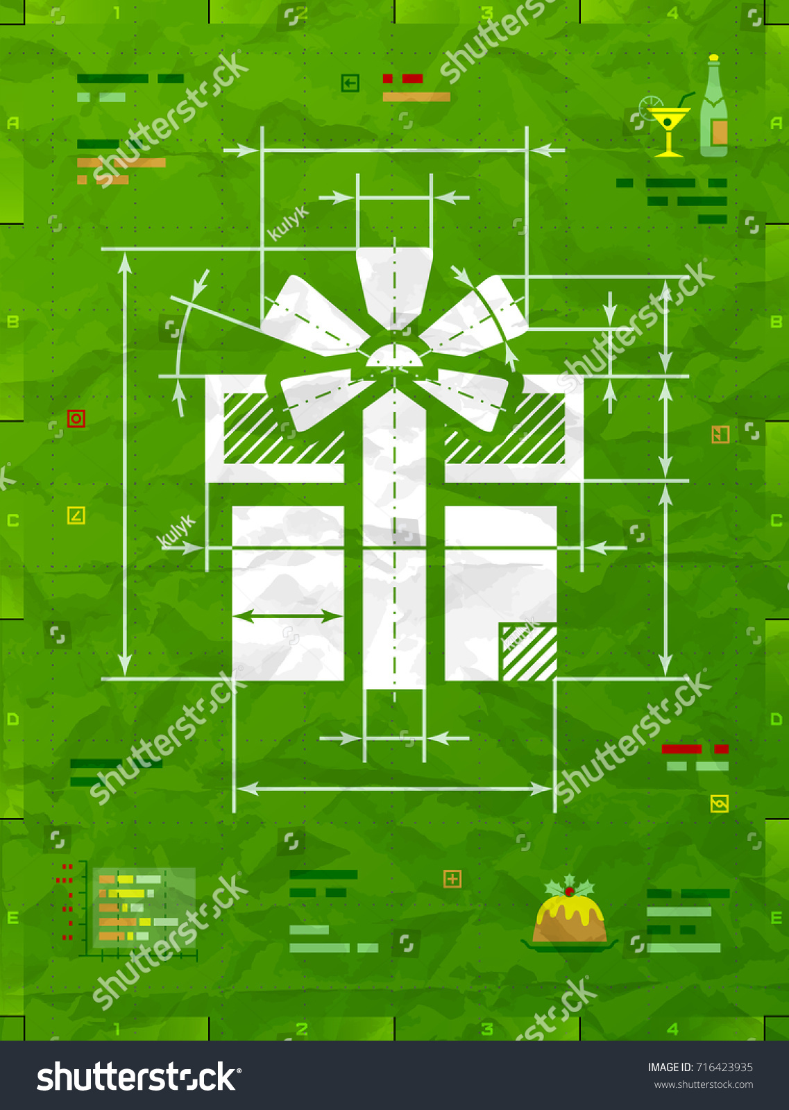 Gift symbol technical blueprint drawing drafting vectores en stock gift symbol as technical blueprint drawing drafting of gift box on crumpled paper best malvernweather Image collections