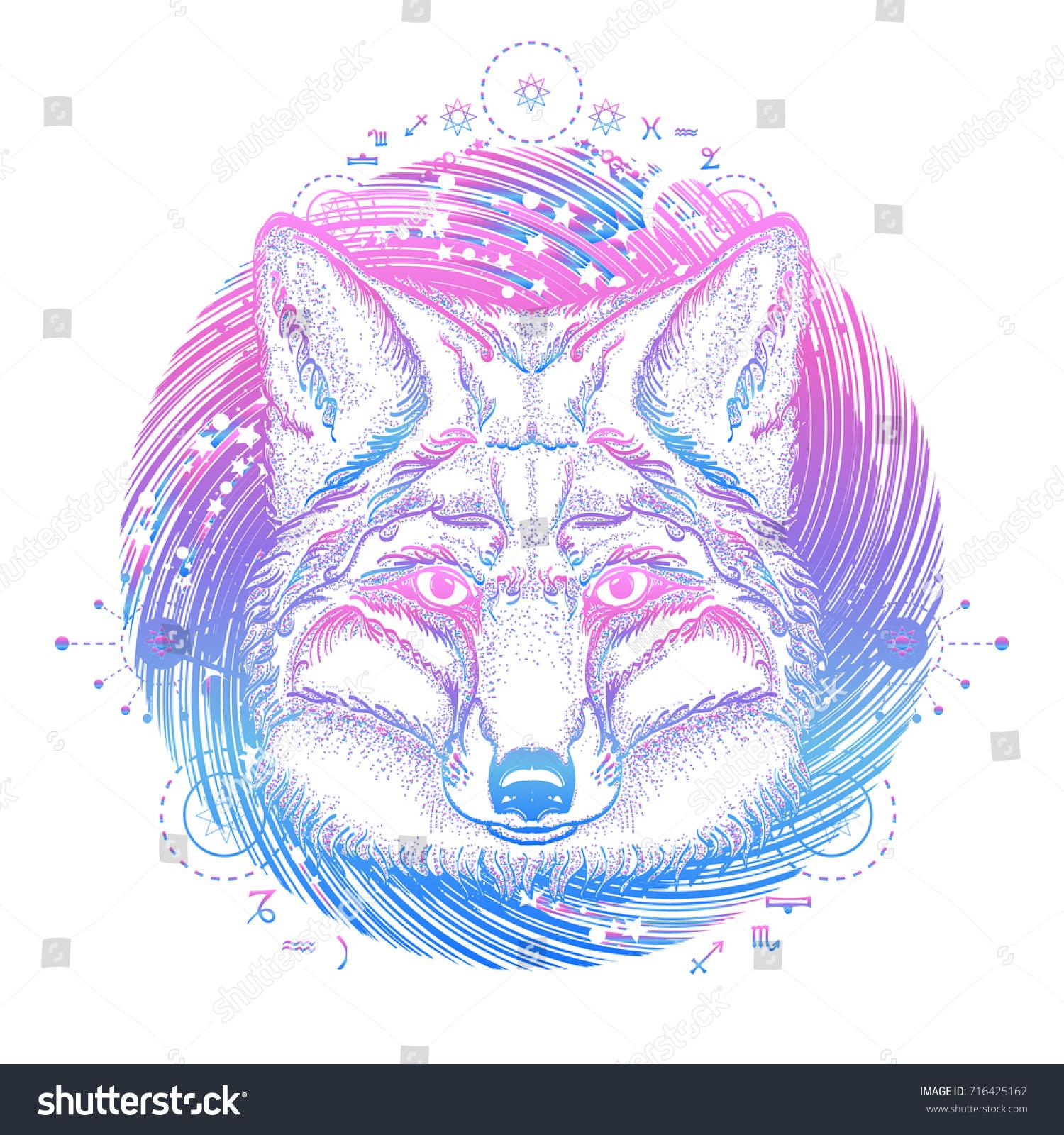 Magic fox tattoo symbol travel freedom stock vector 716425162 symbol of a travel freedom tourism ethnic style t biocorpaavc Images