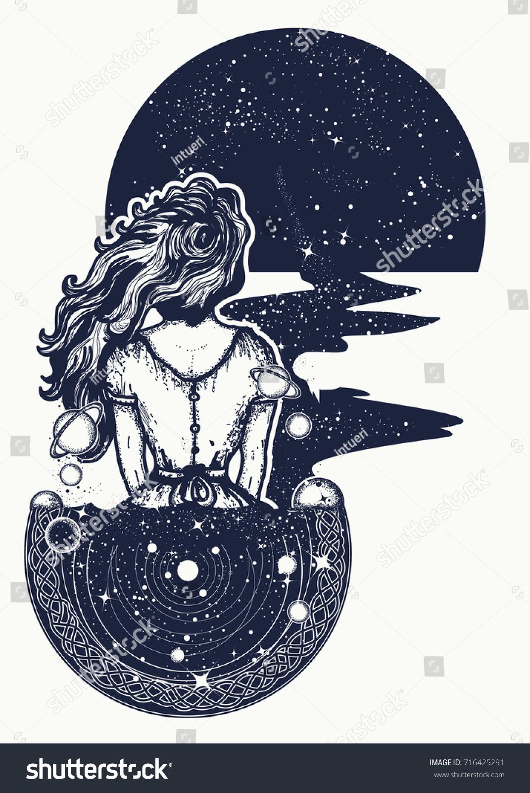 Magic Woman Tattoo Tshirt Design Surreal Stock Vector 716425291