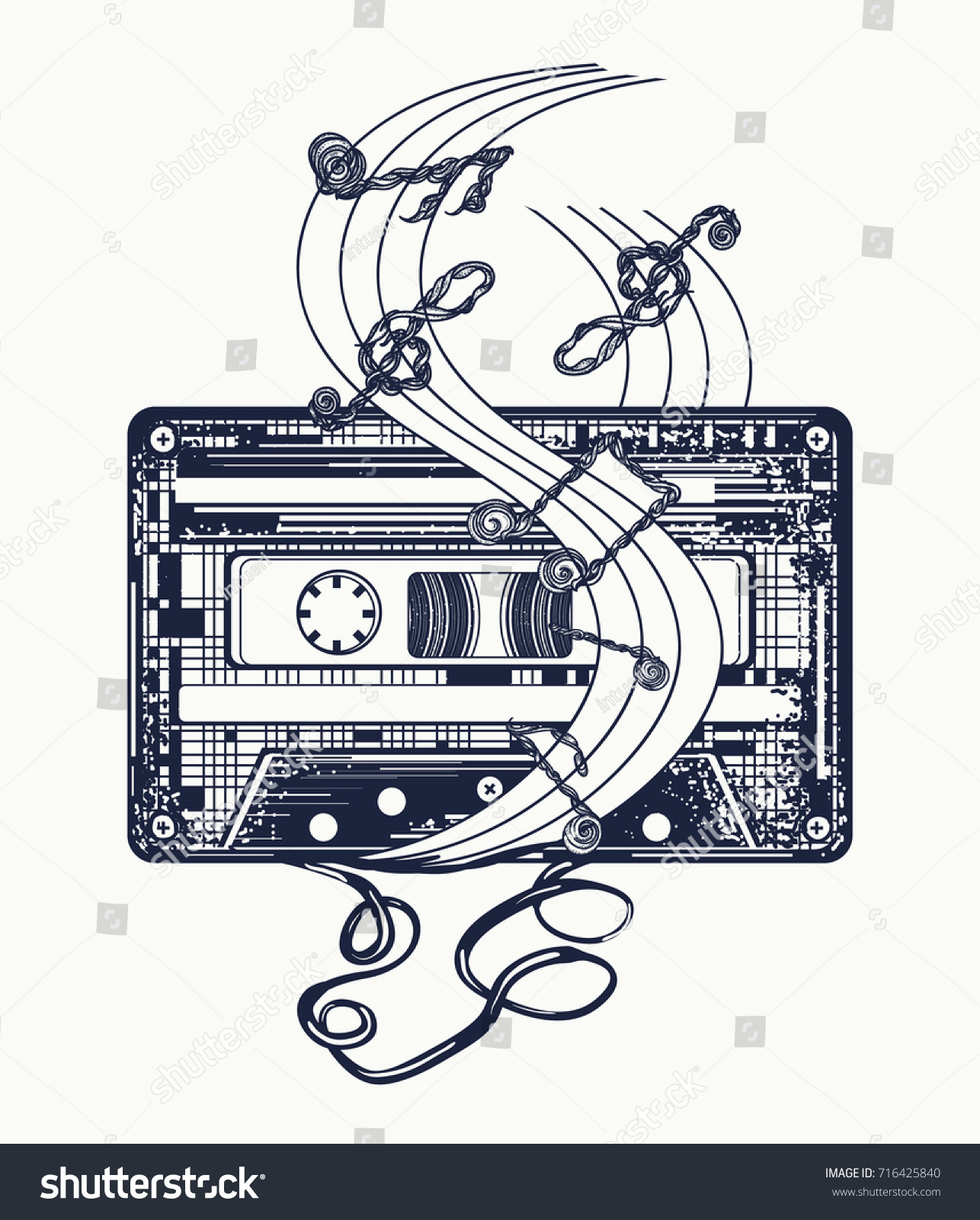 Old Audio Cassette Music Notes Symbol Stock Vector (Royalty Free ...