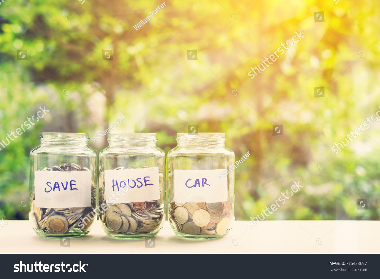Saving Money House Car Concept Coins Stock Photo Edit Now 716433697