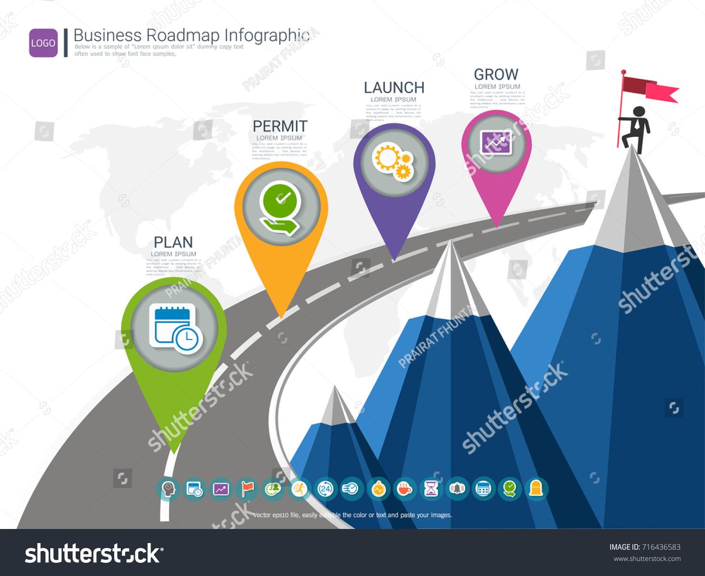 roadmap timeline infographic design template key stock vector