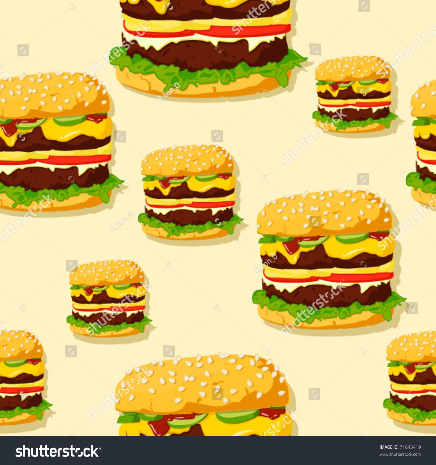 Stock Vector Burger Seamless