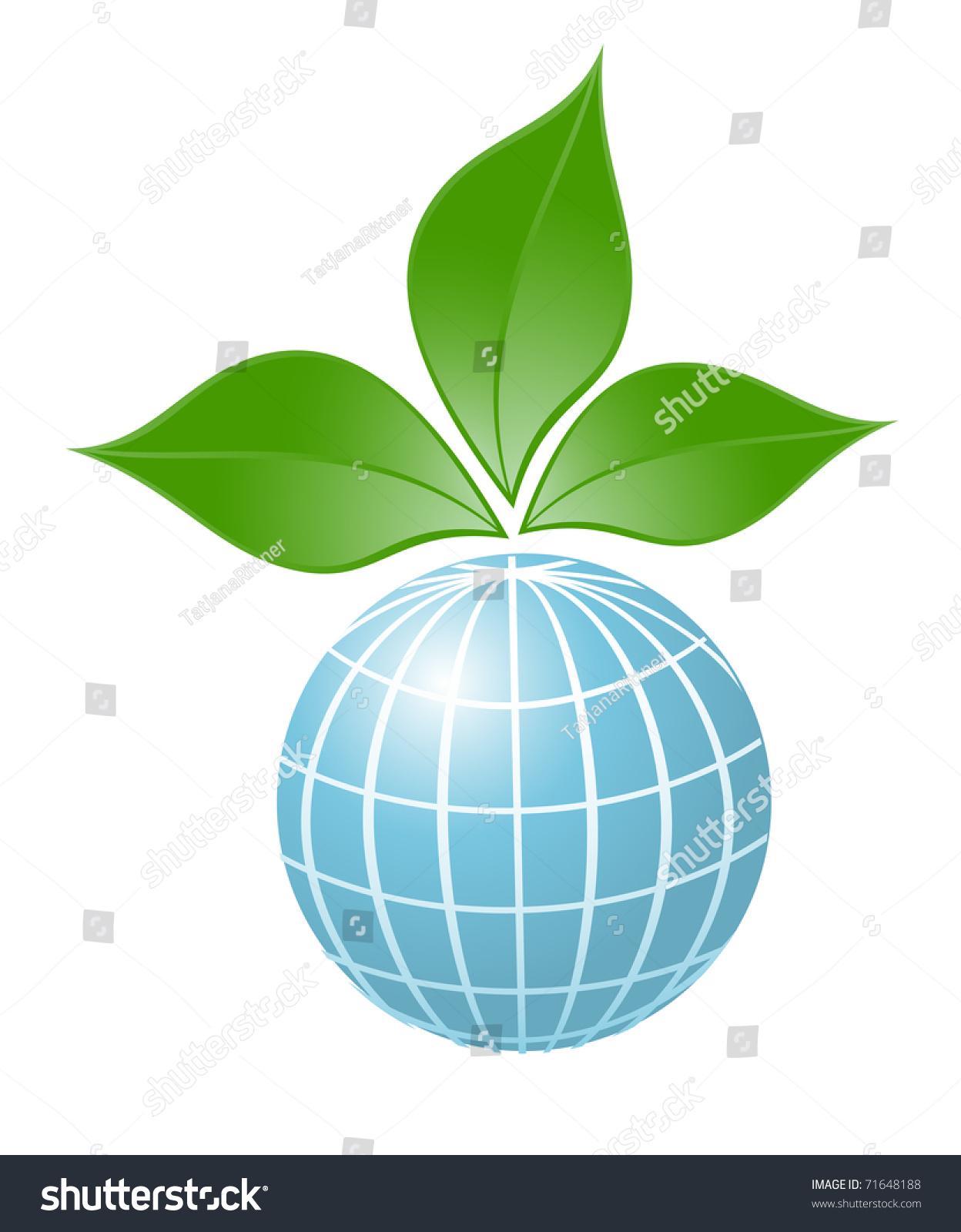 Symbol Globe Plant Vector Illustration Stock Vector 71648188