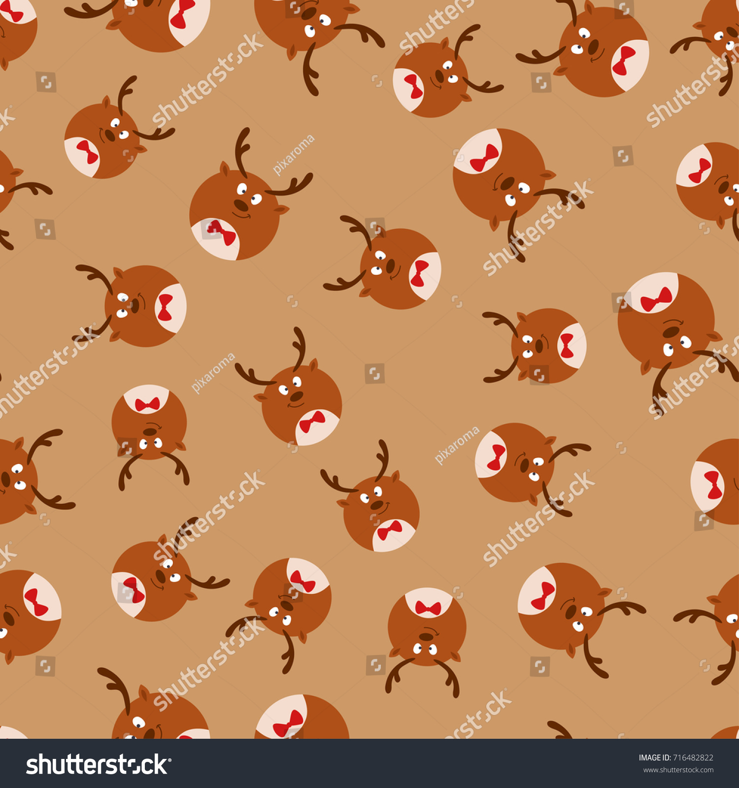 christmas cute round reindeer seamless pattern stock vector