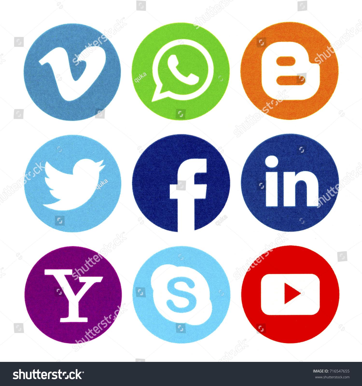 Belgrade september 17 2017 set popular stock photo 716547655 belgrade september 17 2017 set of popular social media icons printed on white buycottarizona
