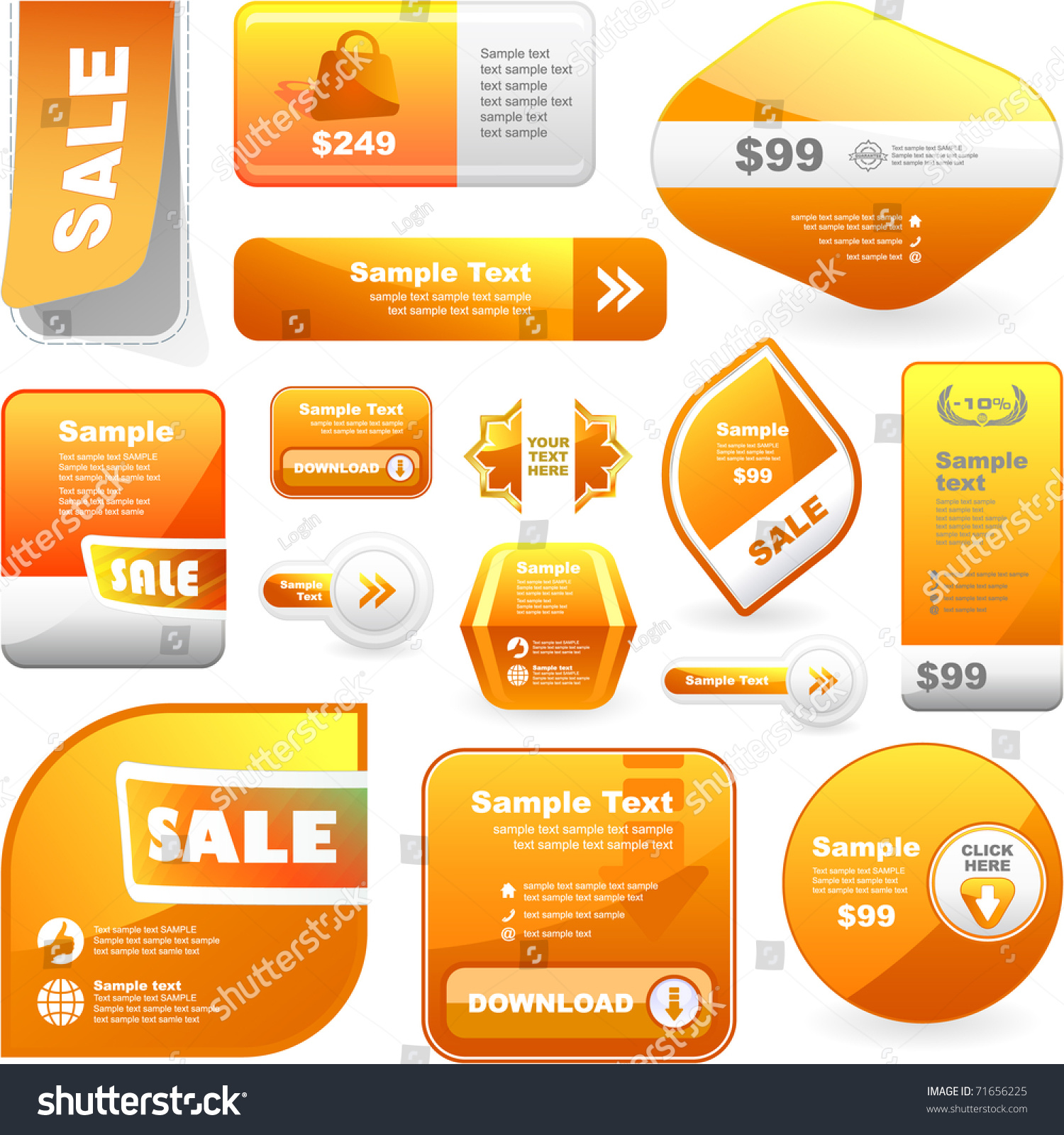 big collection elements sticker coupon stock vector  big collection of elements sticker coupon brochure template offer banner