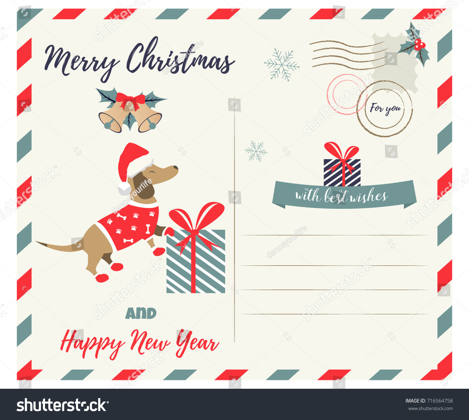 Christmas new year greeting postcard holiday stock vector royalty christmas or new year greeting postcard with holiday dachshund m4hsunfo