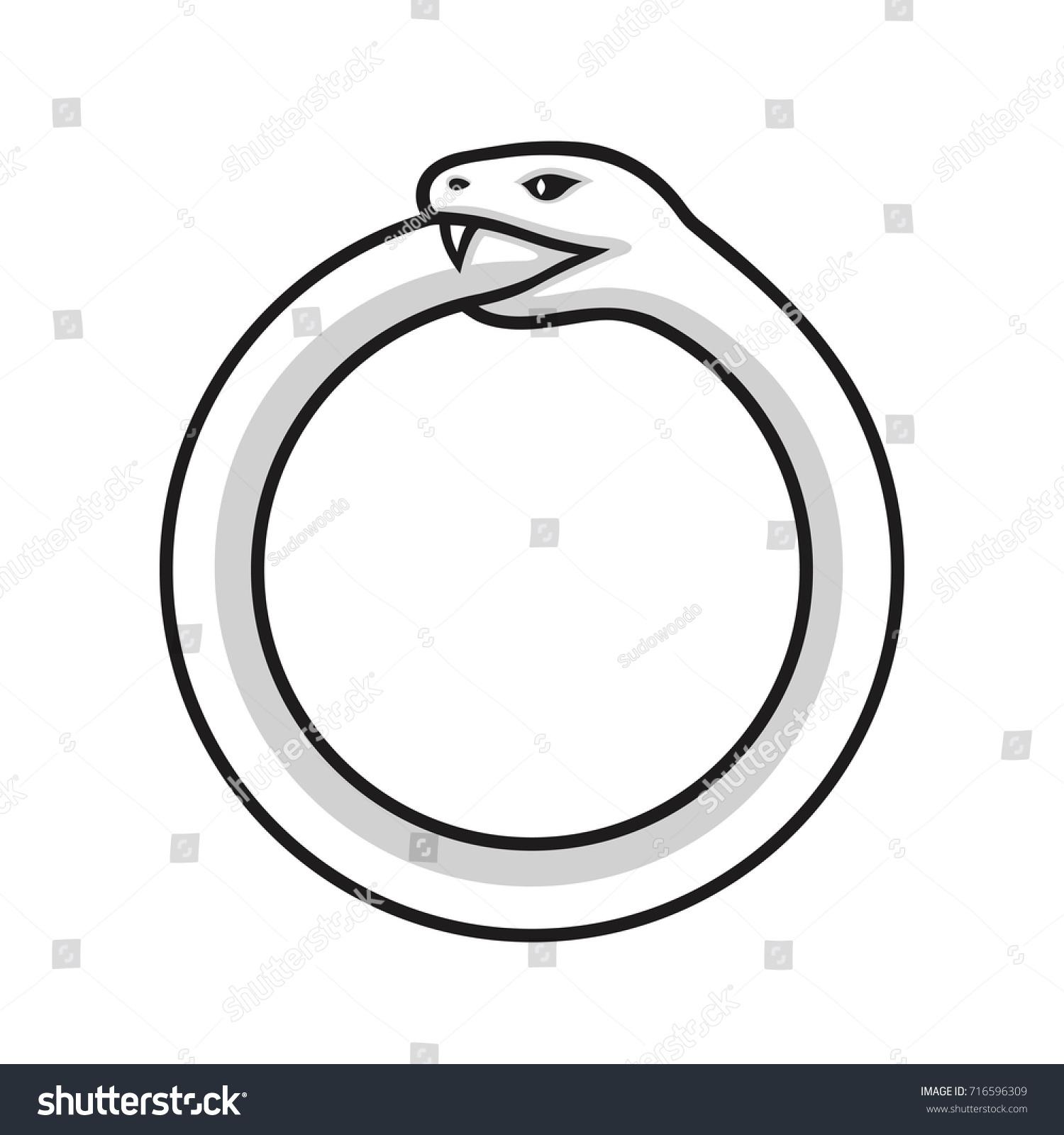 Ouroboros Symbol Snake Eating Own Tail Stock Illustration 716596309