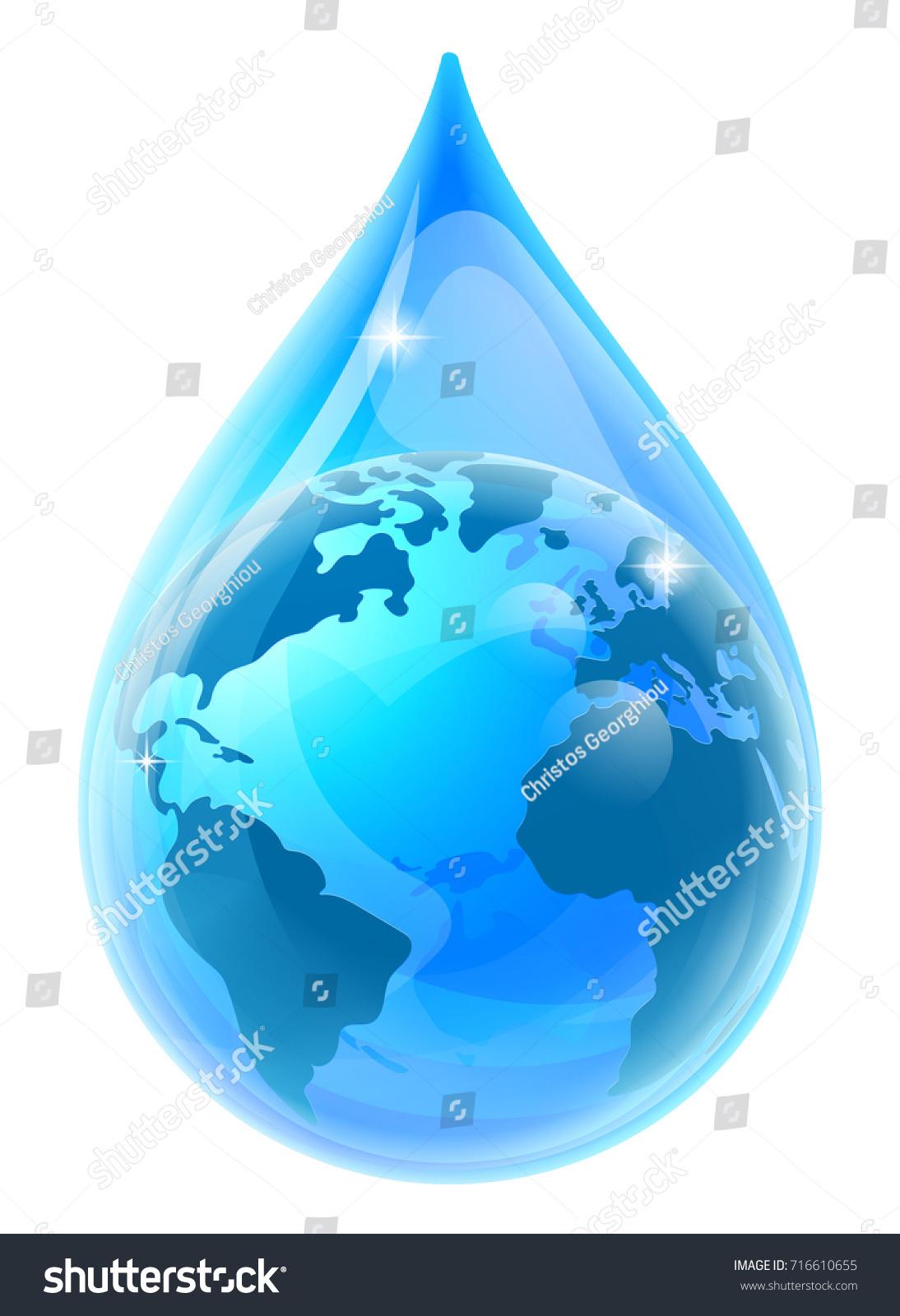water rain drop droplet world earth stock vector 716610655