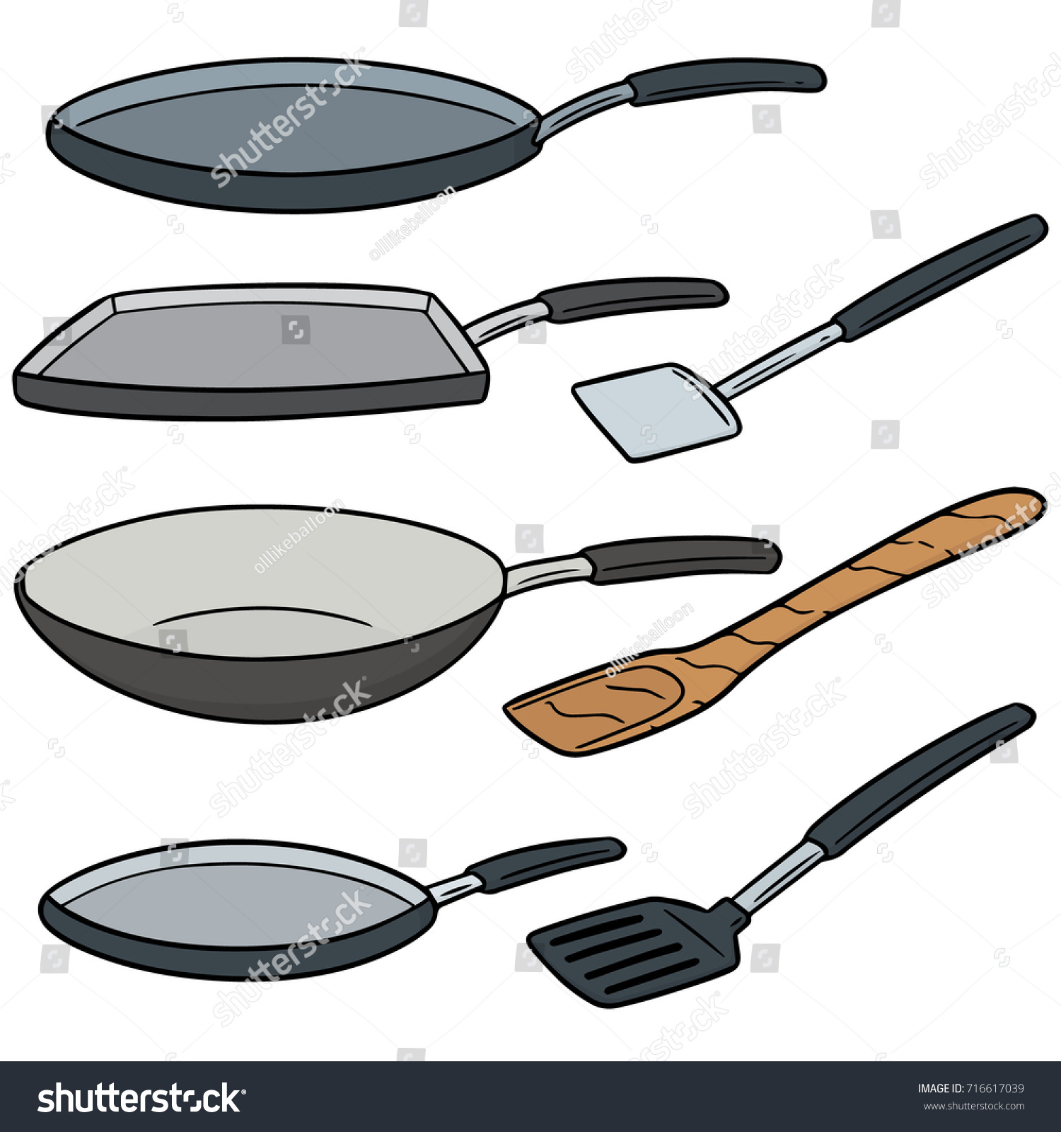 Vector set pan flipper stock vector 716617039 shutterstock for Kitchen set drawing