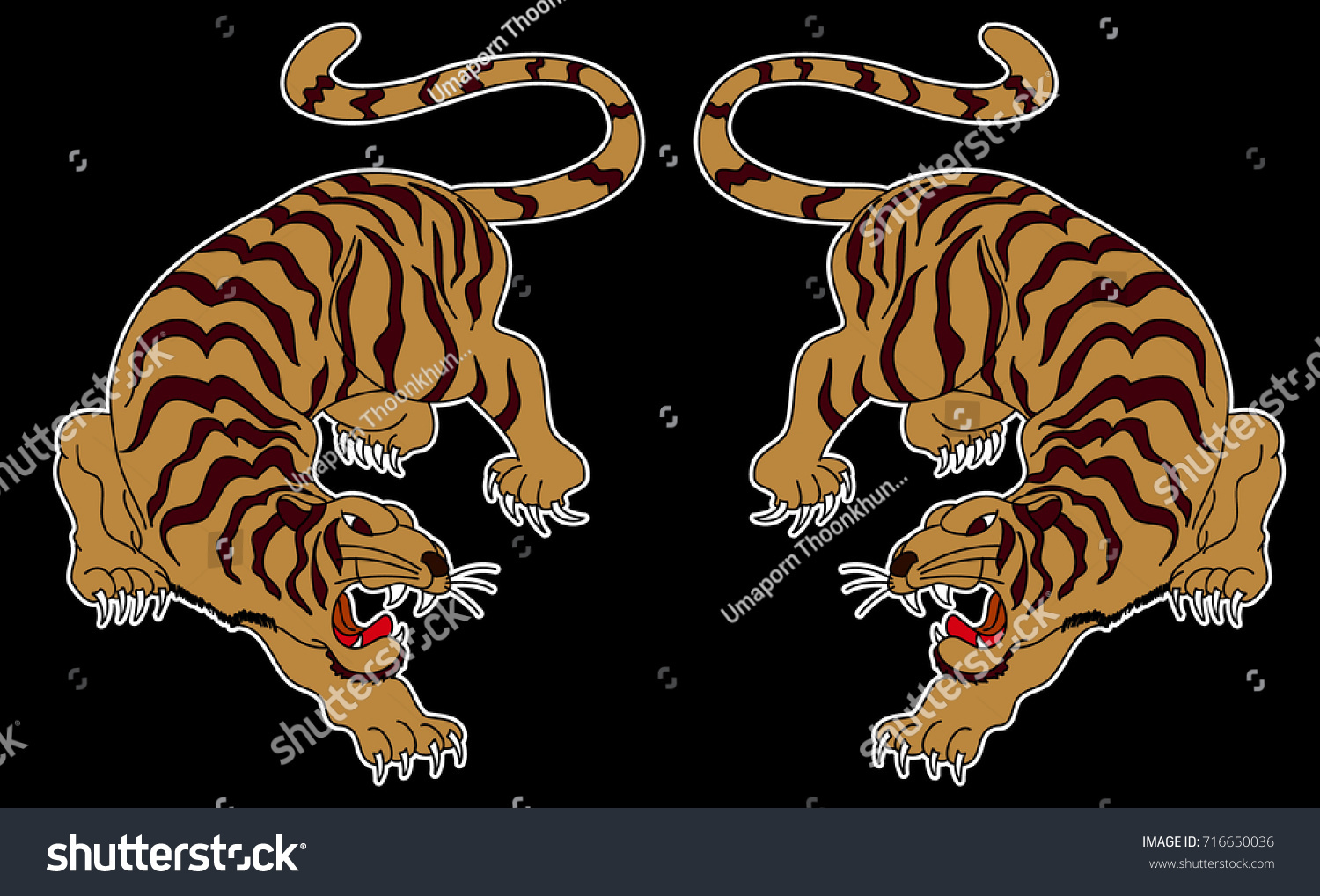 Japanese tiger sticker tattoo design cartoon tiger stock vector japanese tiger sticker tattoo designcartoon tiger on black backgroundctor izmirmasajfo