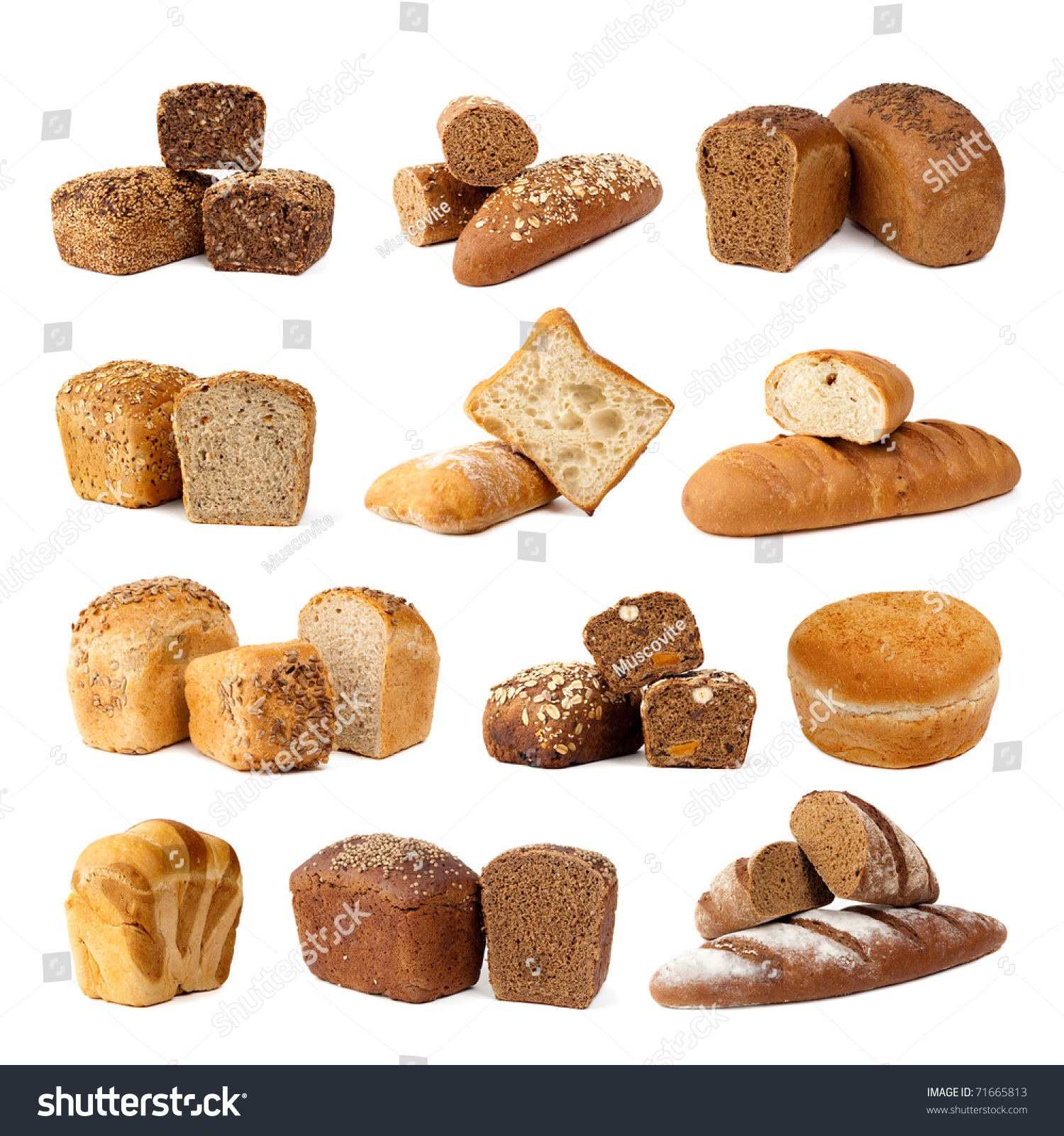 Assortment Different Types Bread Isolated On Stock Photo 71665813 ...