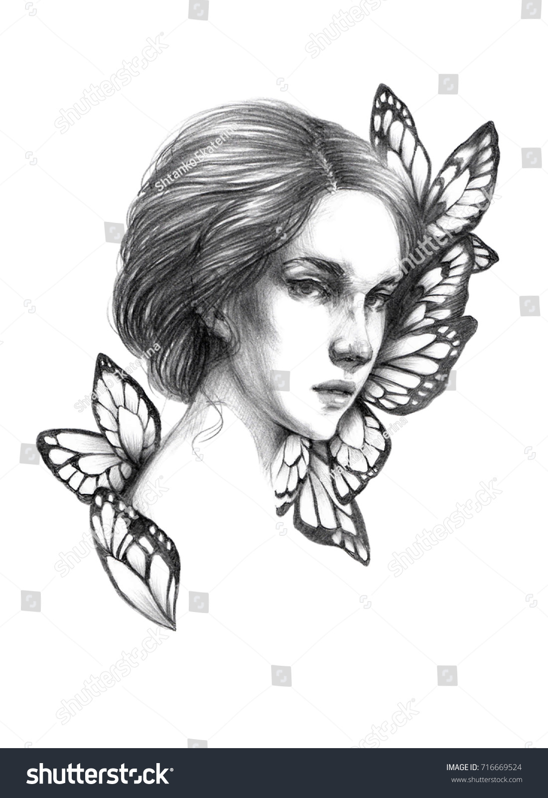Portrait sketch young beautiful girl drawing pencil mysterious girl with butterfly wings