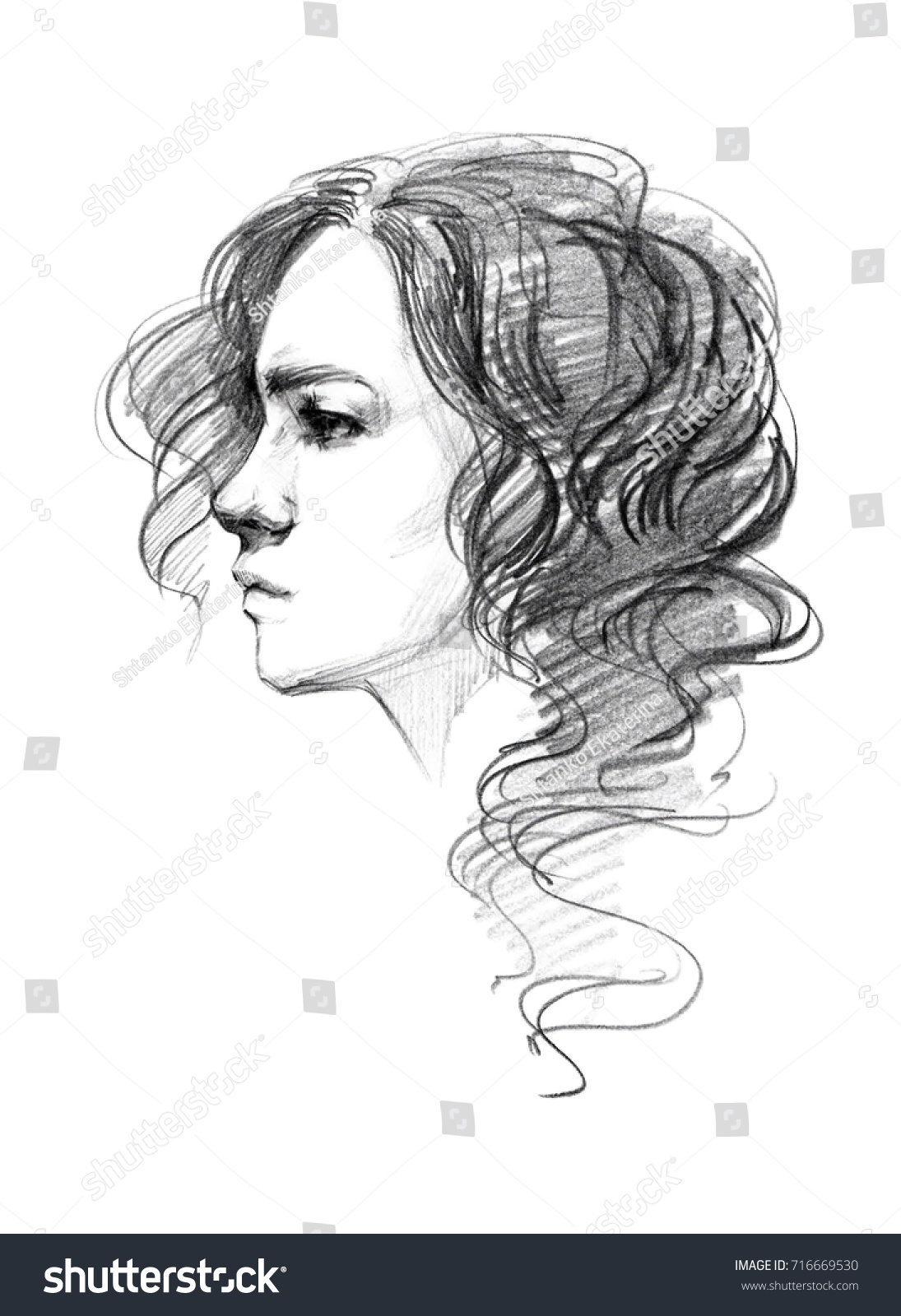 Portrait sketch of young beautiful girl fast pencil drawing cute girl with short curly hair head