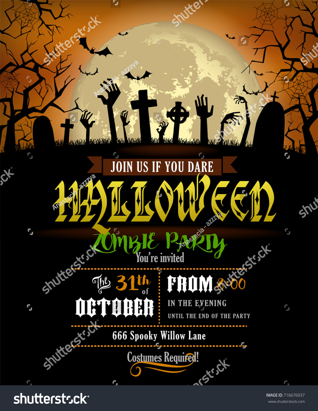 Halloween party invitation poster zombies party em vetor stock halloween party invitation poster zombies party em vetor stock 716676937 shutterstock stopboris Gallery