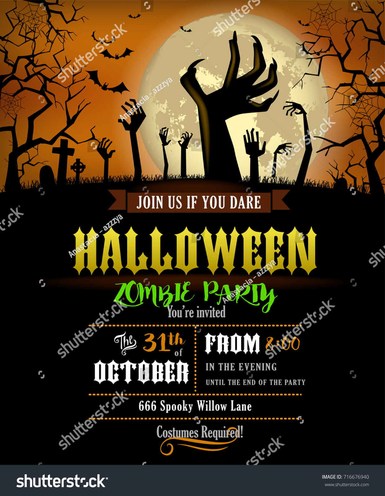 Halloween Party Invitation Poster Zombies Party Stock Vector ...