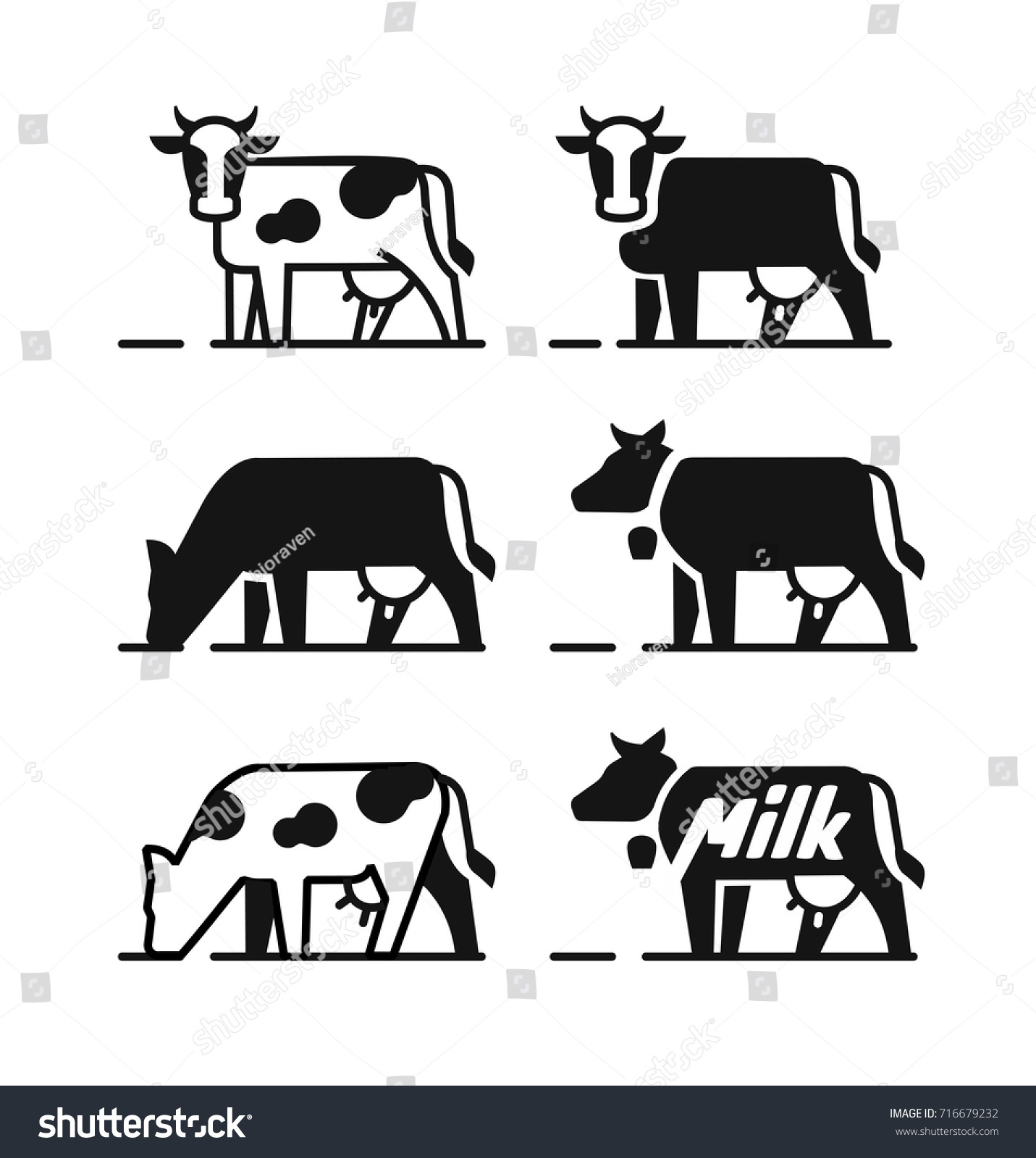 Dairy Cow Symbols Your Milk Products Stock Vector Royalty Free