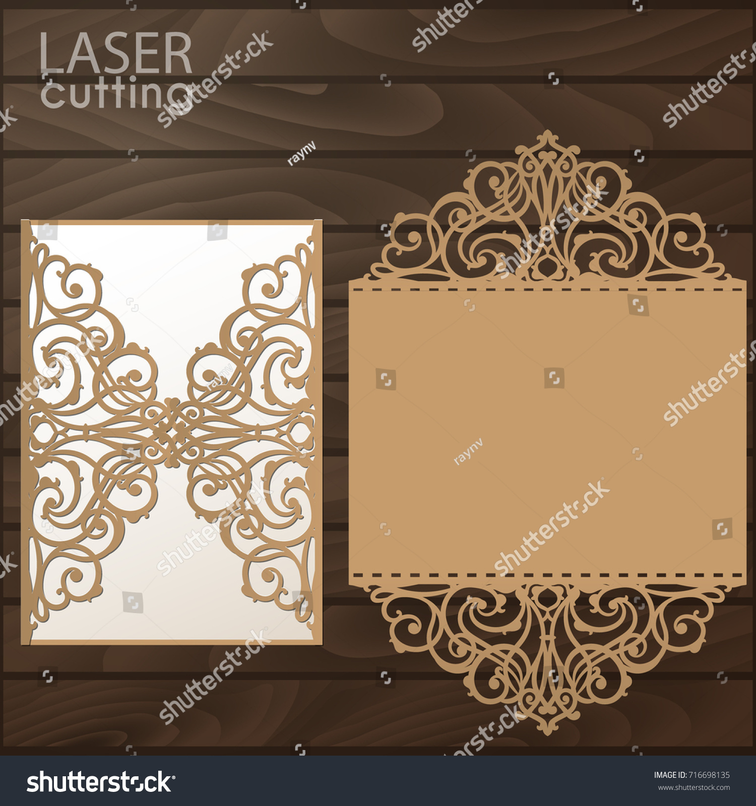 Laser Cut Wedding Invitation Card Template Stock Vector - Laser cut wedding invitation templates