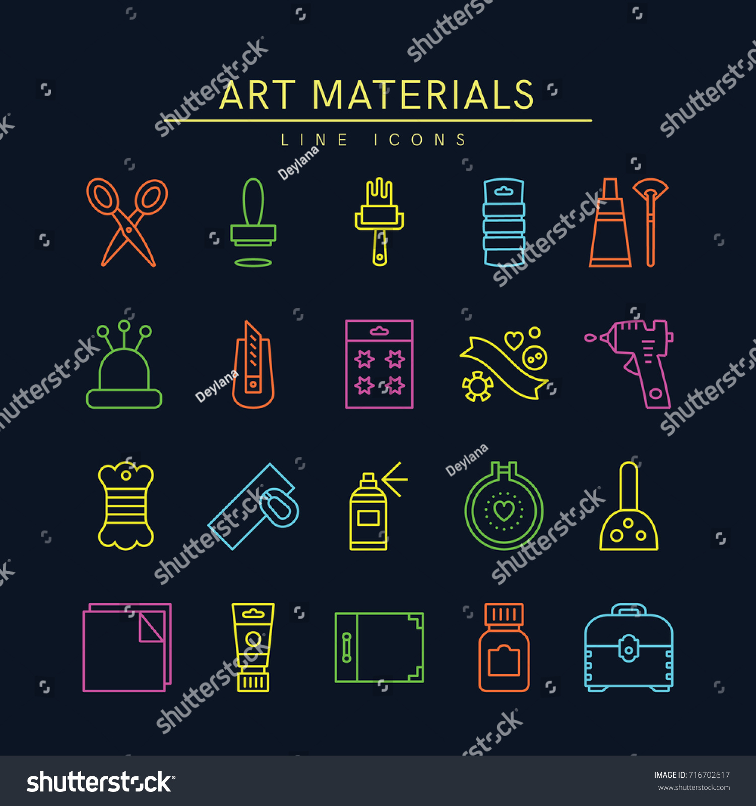 Craft Supplies Materials Thin Line Icons Set Show Making And