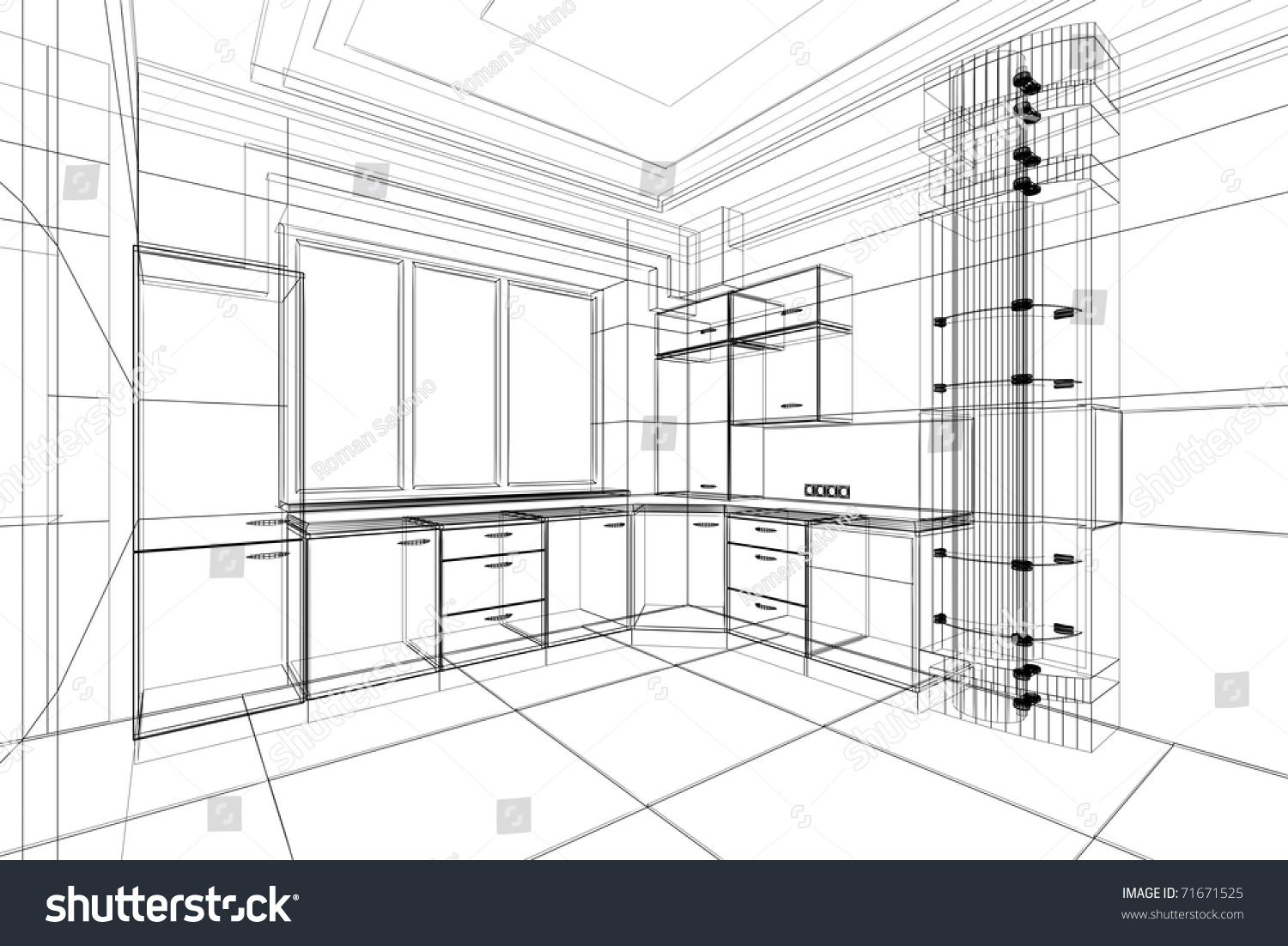 Abstract Sketch Design Interior Kitchen Stock Illustration 71671525 Shutterstock