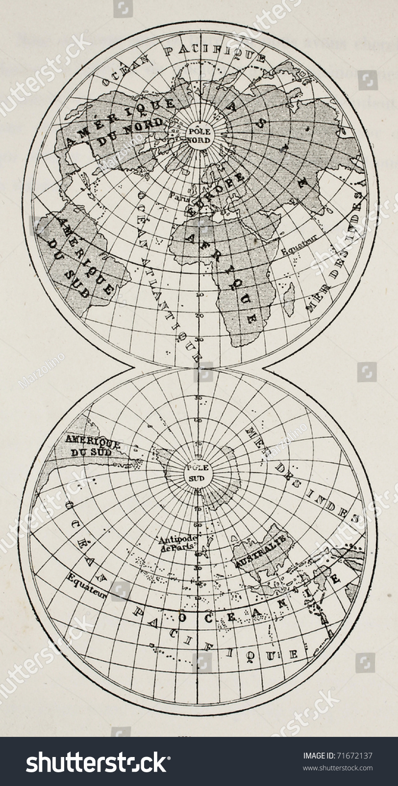 Old Globe Map Continents Oceans On Stock Photo (Edit Now) 71672137 ...