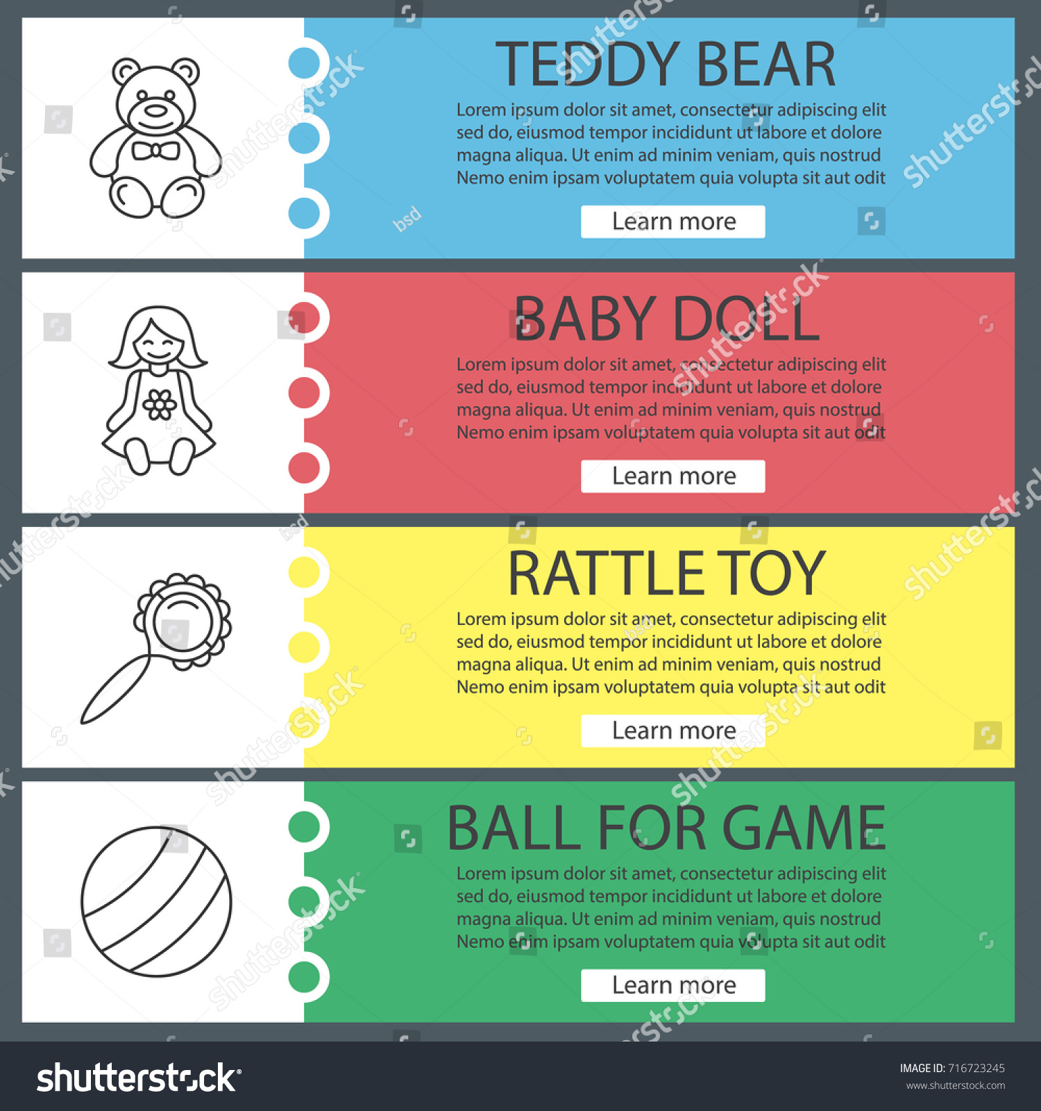 kids toys web banner templates set stock vector royalty free