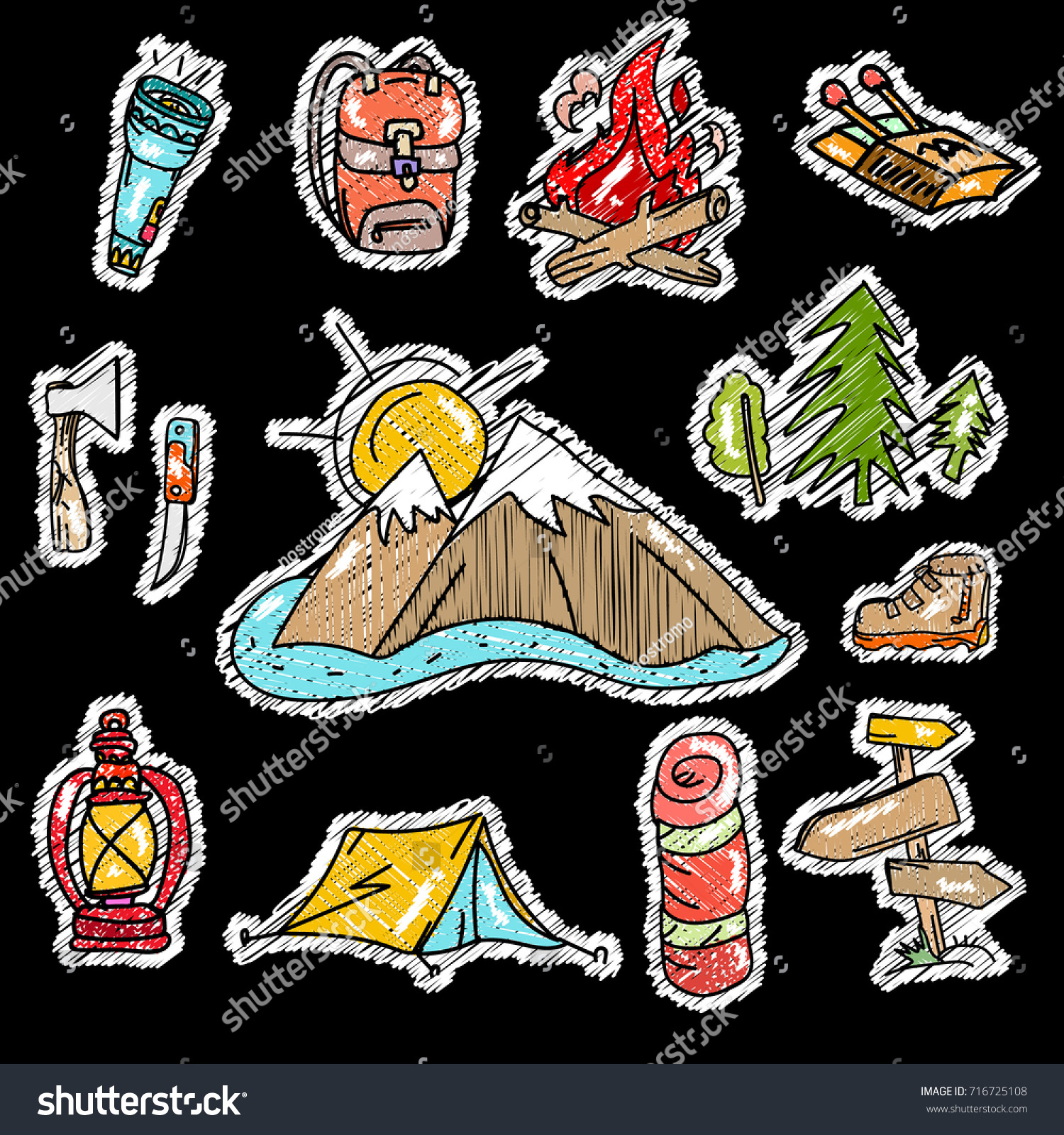 Embroidery Camping Stickers Pop Art Style Stock Vector Royalty Free