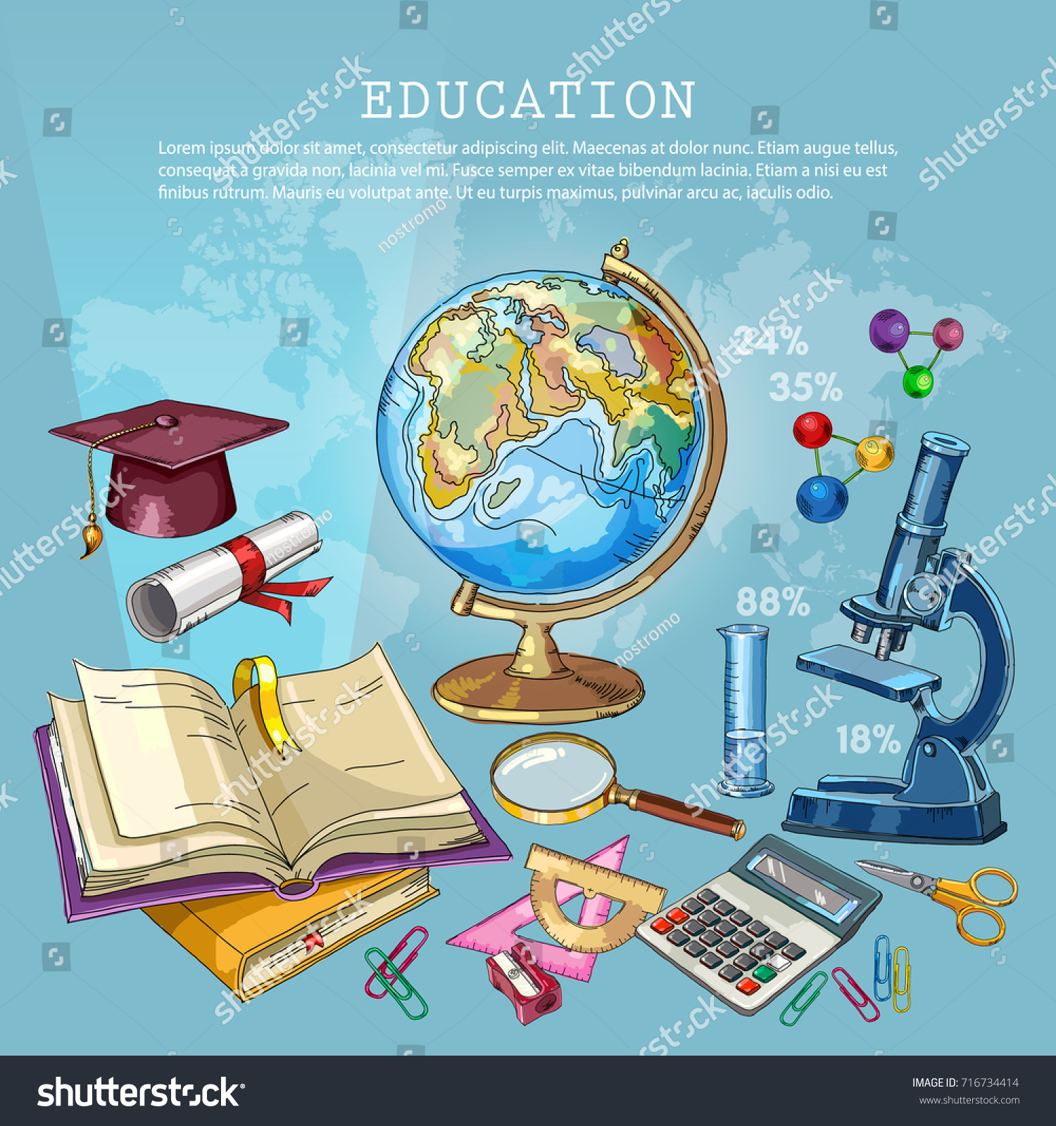Education Background Open Book Knowledge Symbol Stock Vector