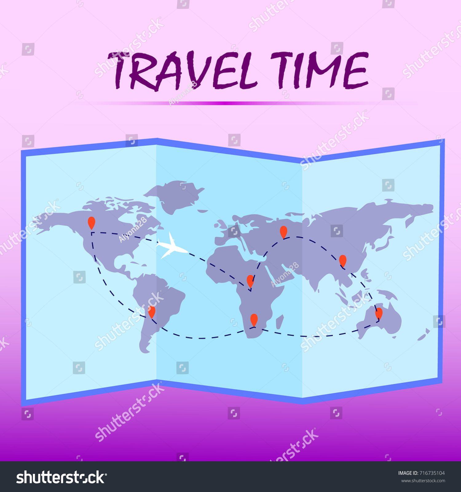 Travel time folded world map route on stock vector hd royalty free folded world map with route on pink background vector illustration gumiabroncs Images