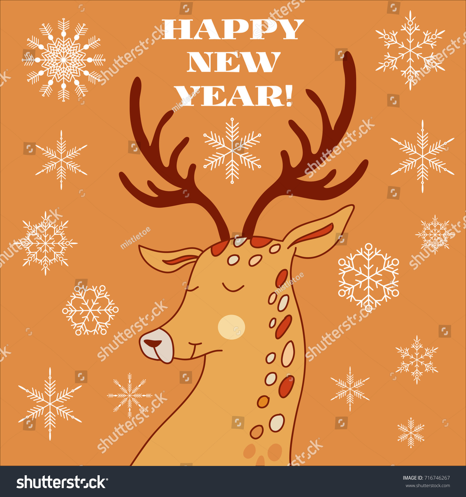 Hand Drawn Christmas Greeting Card Deer Stock Vector 716746267