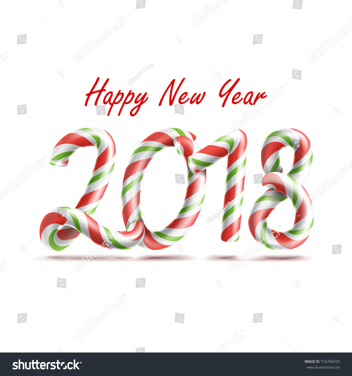2018 happy new year number sign stock illustration 716766559