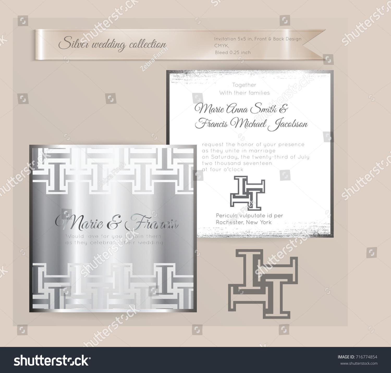 Luxury Wedding Invitation Template Silver Shiny Stock Photo (Photo ...
