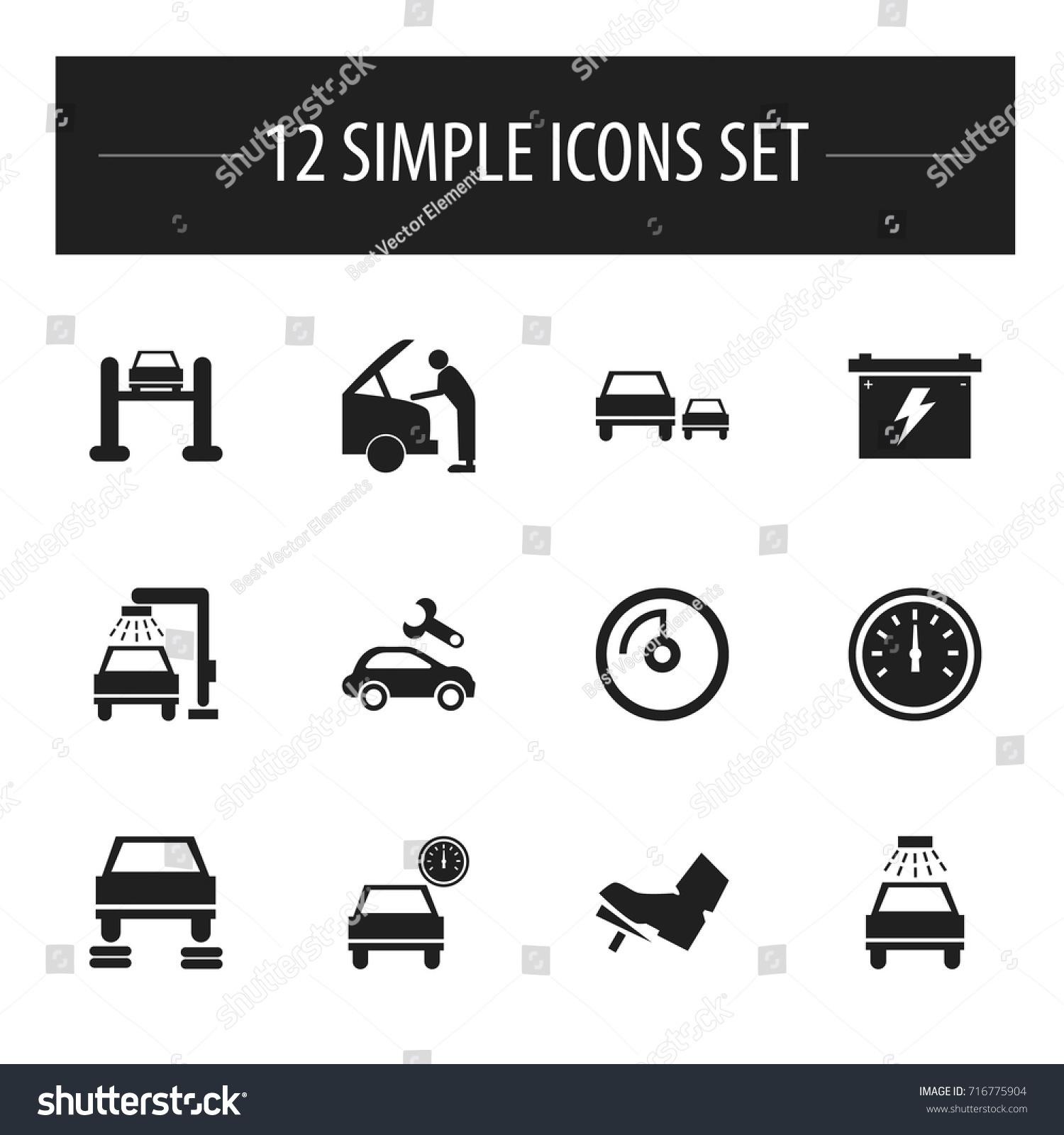 Set 12 editable car icons includes stock vector 716775904 set of 12 editable car icons includes symbols such as odometer automobile vehicle buycottarizona