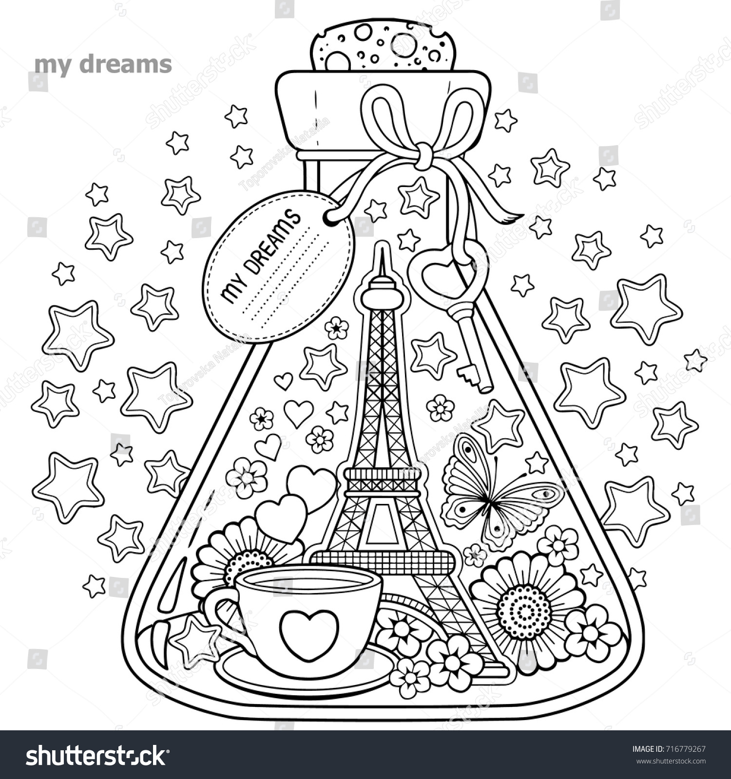 vector coloring book for adults a glass vessel with dreams of traveling to paris - Paris Coloring Book