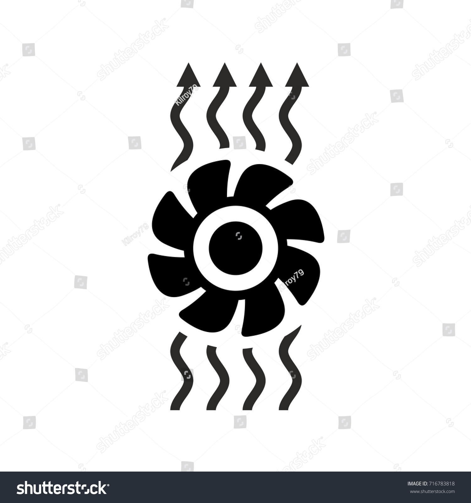 Exhaust Fan Symbol : Ventilation icon fan air waves flow stock vector