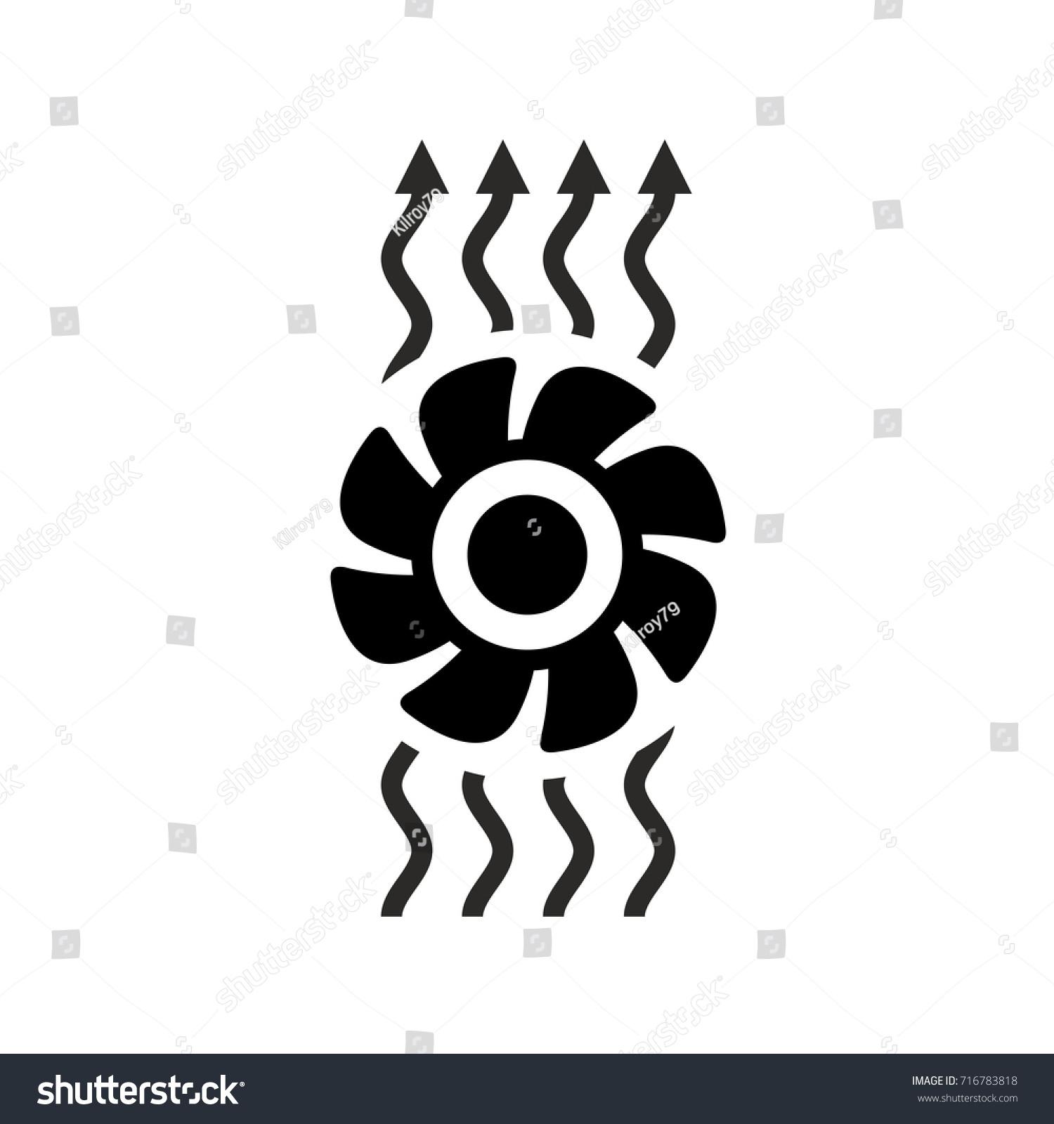 Exhaust Fan Symbol : Ventilation icon fan air waves flow stock vector