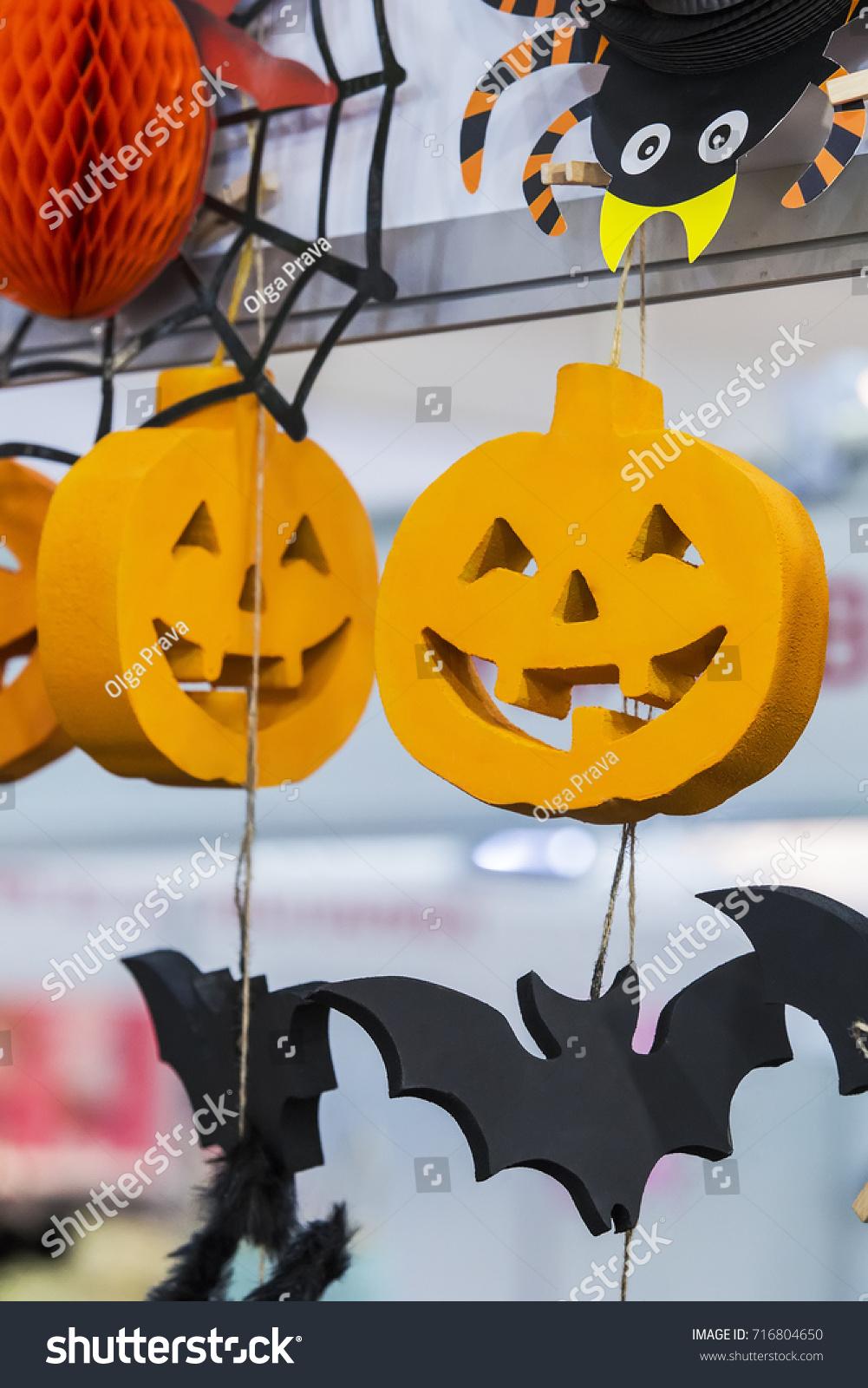 Pendant Wall Decoration Halloween Pumpkin Bat Stock Photo 716804650 ...