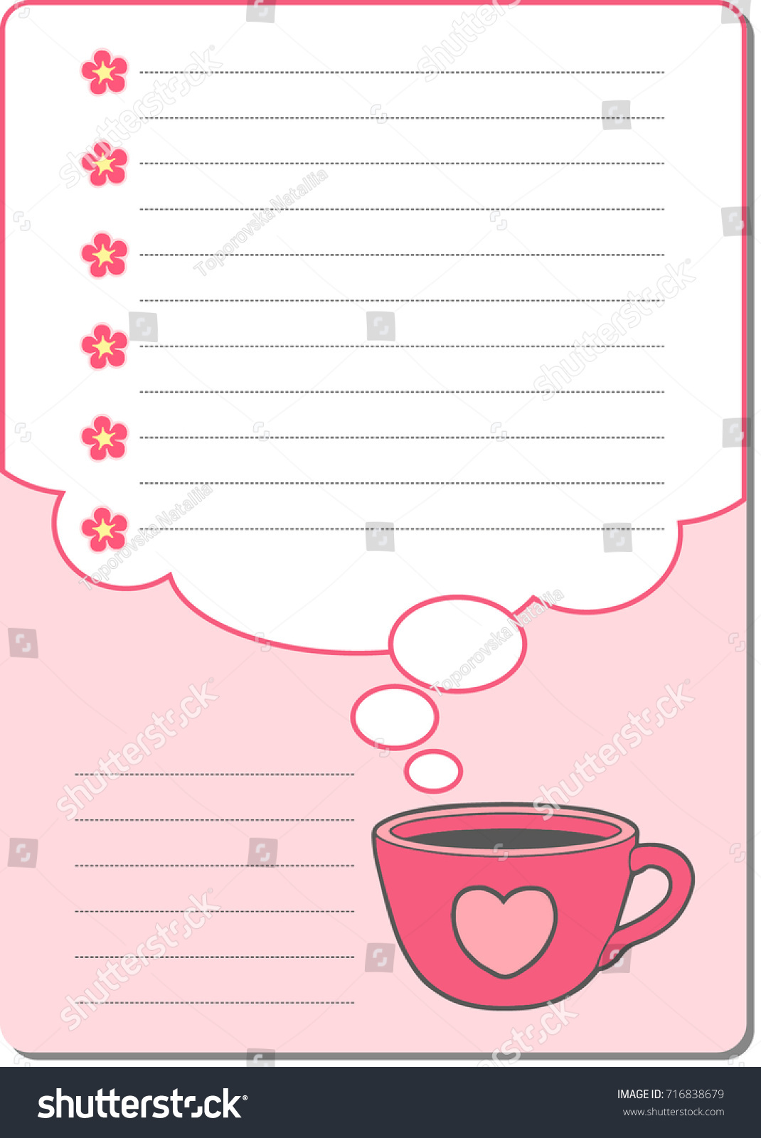 cute notebook paper background vector cards stock vector (royalty