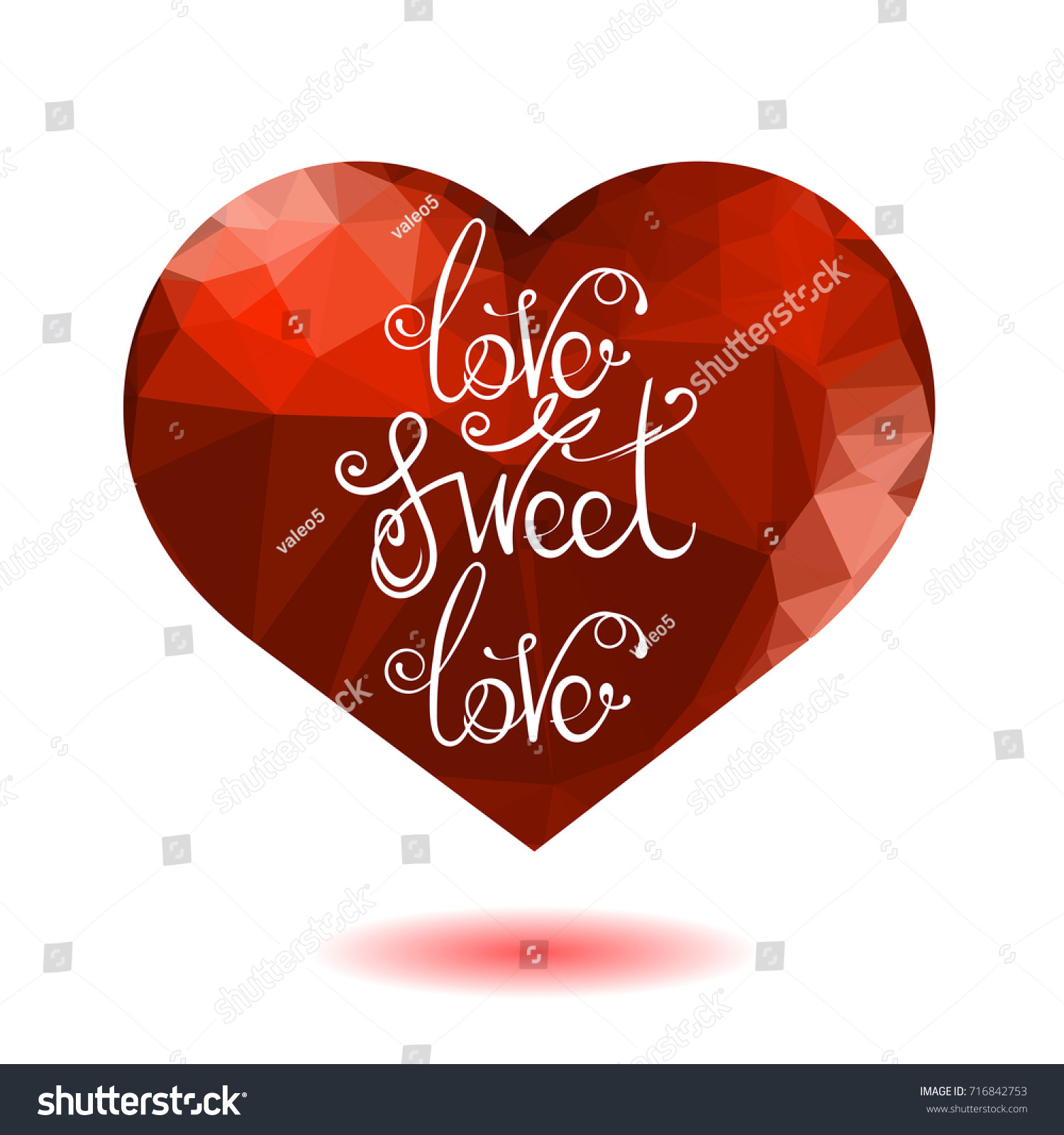 Elegant Vector Vintage Hand Lettering Isolated On Red Heart Background. Romantic  Love Quote Design