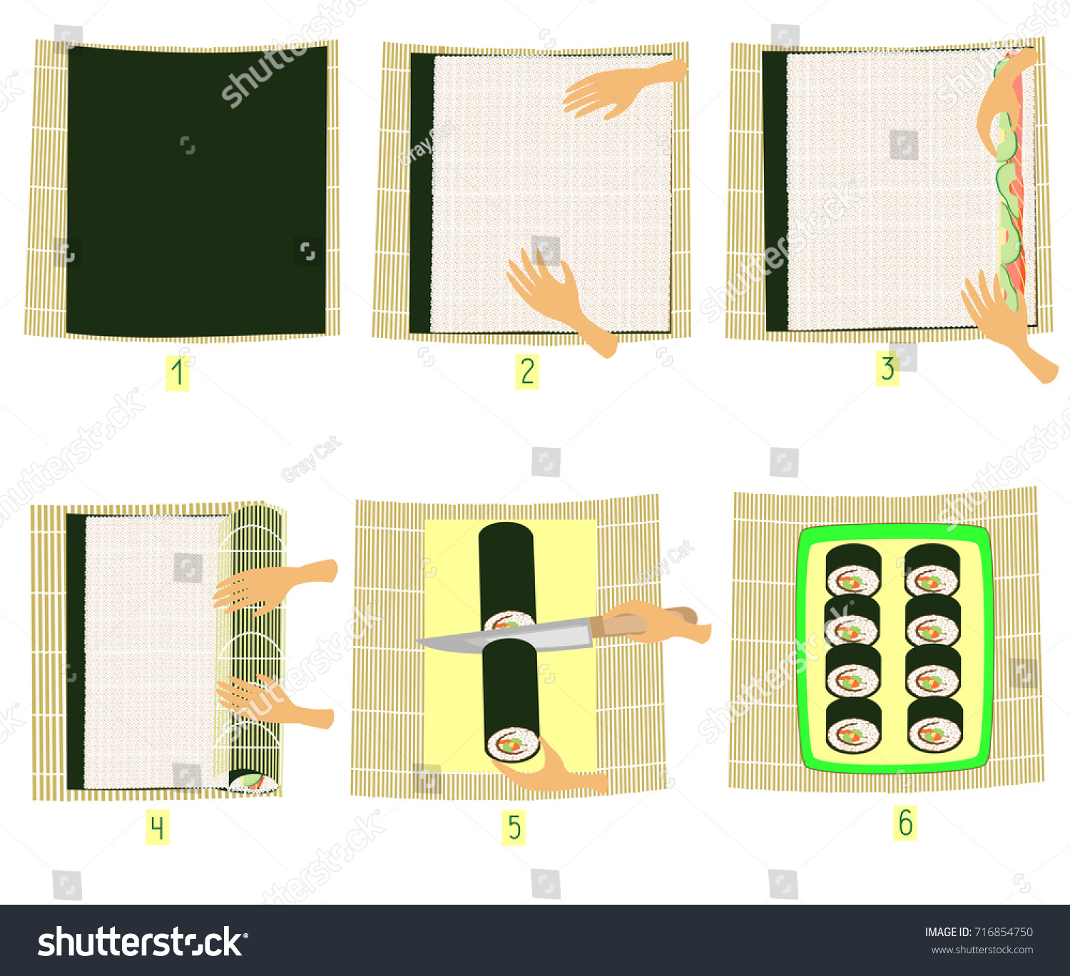 Preparation sushi pictures stepbystep instruction do stock vector hd preparation of sushi in pictures step by step instruction do it yourself solutioingenieria Images