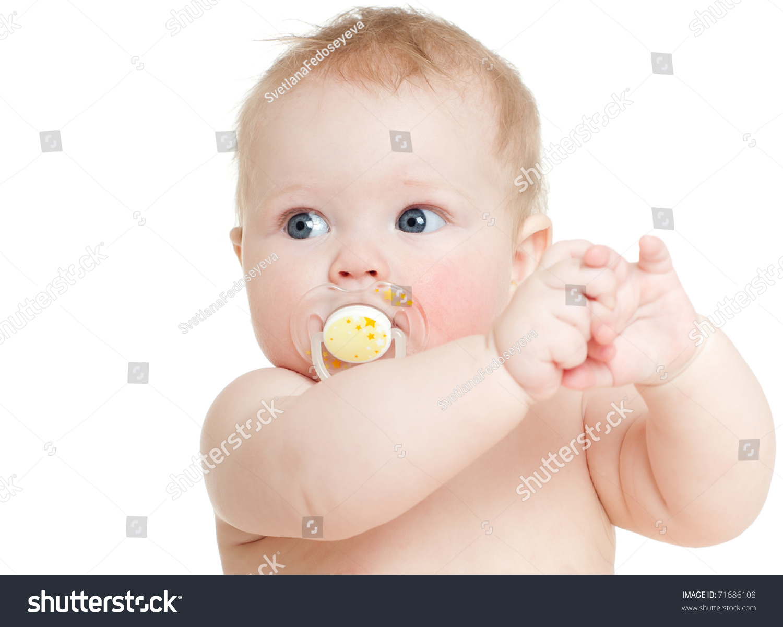 Happy Baby, On White Background Stock Photo 71686108